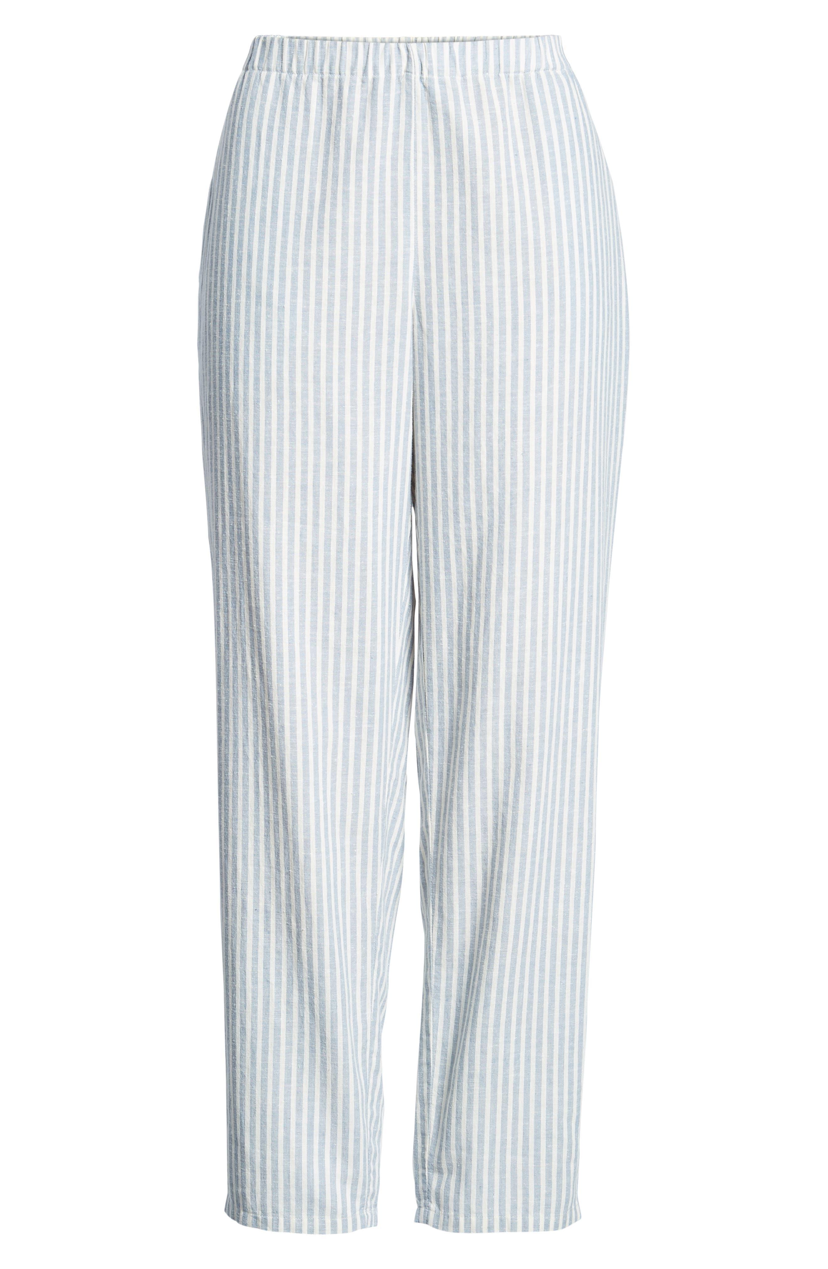 Stripe Tapered Hemp Blend Ankle Pants,                             Alternate thumbnail 7, color,                             Chambray