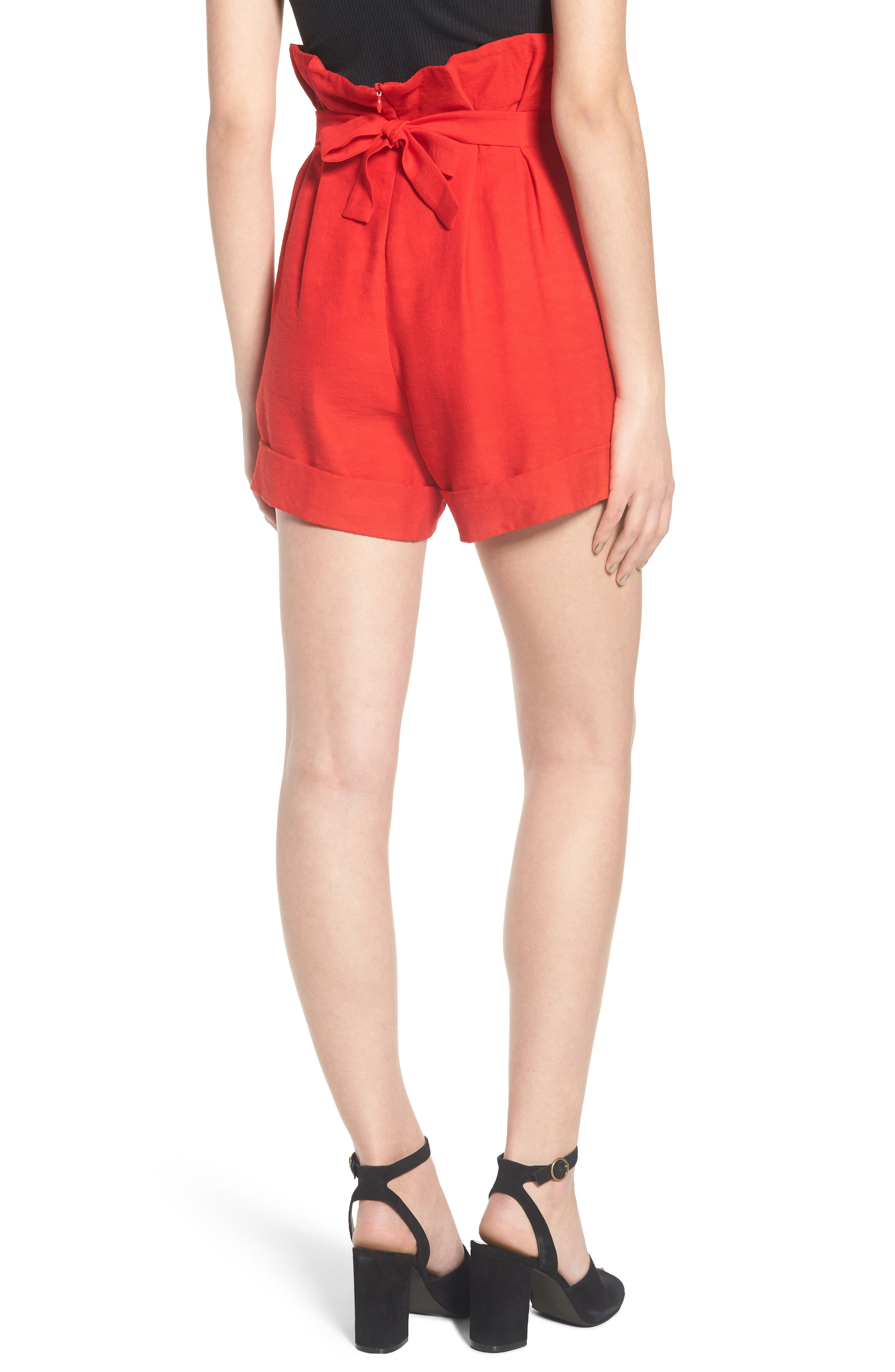 High Waist Short with Tie Detail,                             Alternate thumbnail 3, color,                             Red