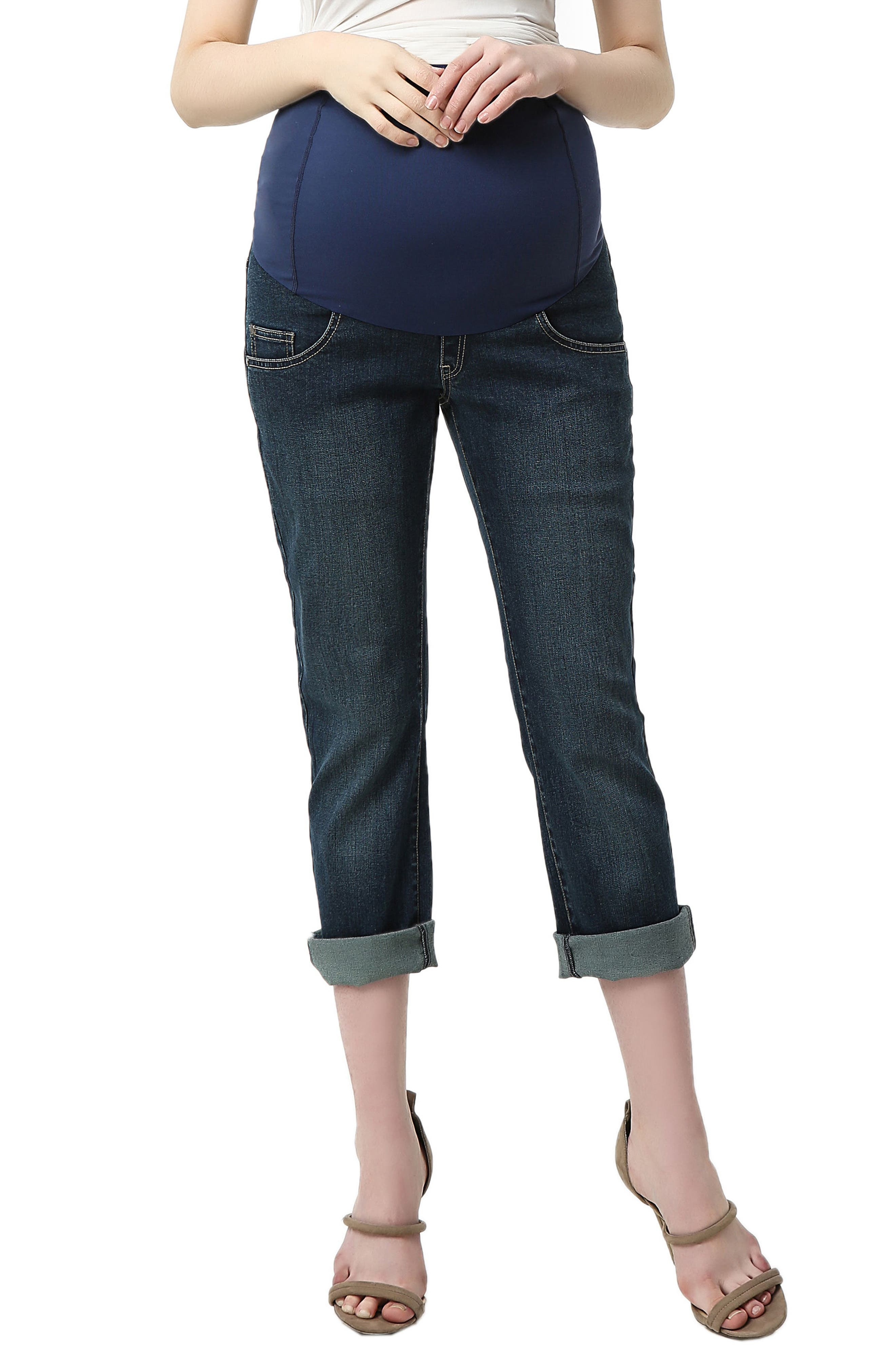Jodie Crop Girlfriend Maternity Jeans,                         Main,                         color, Rich Indigo