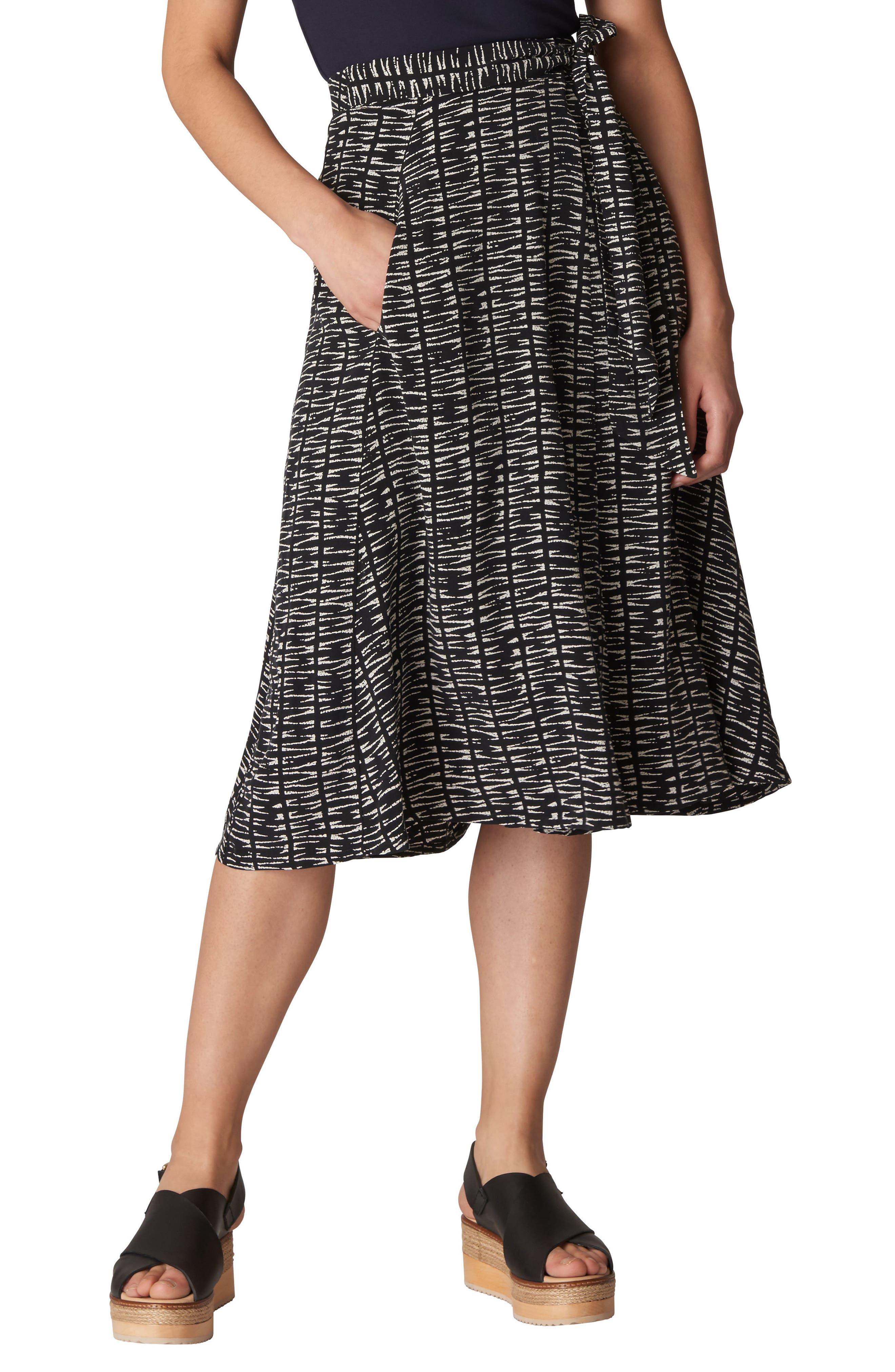 Avie Sahara Print Wrap Skirt,                             Main thumbnail 1, color,                             Black/ Multi