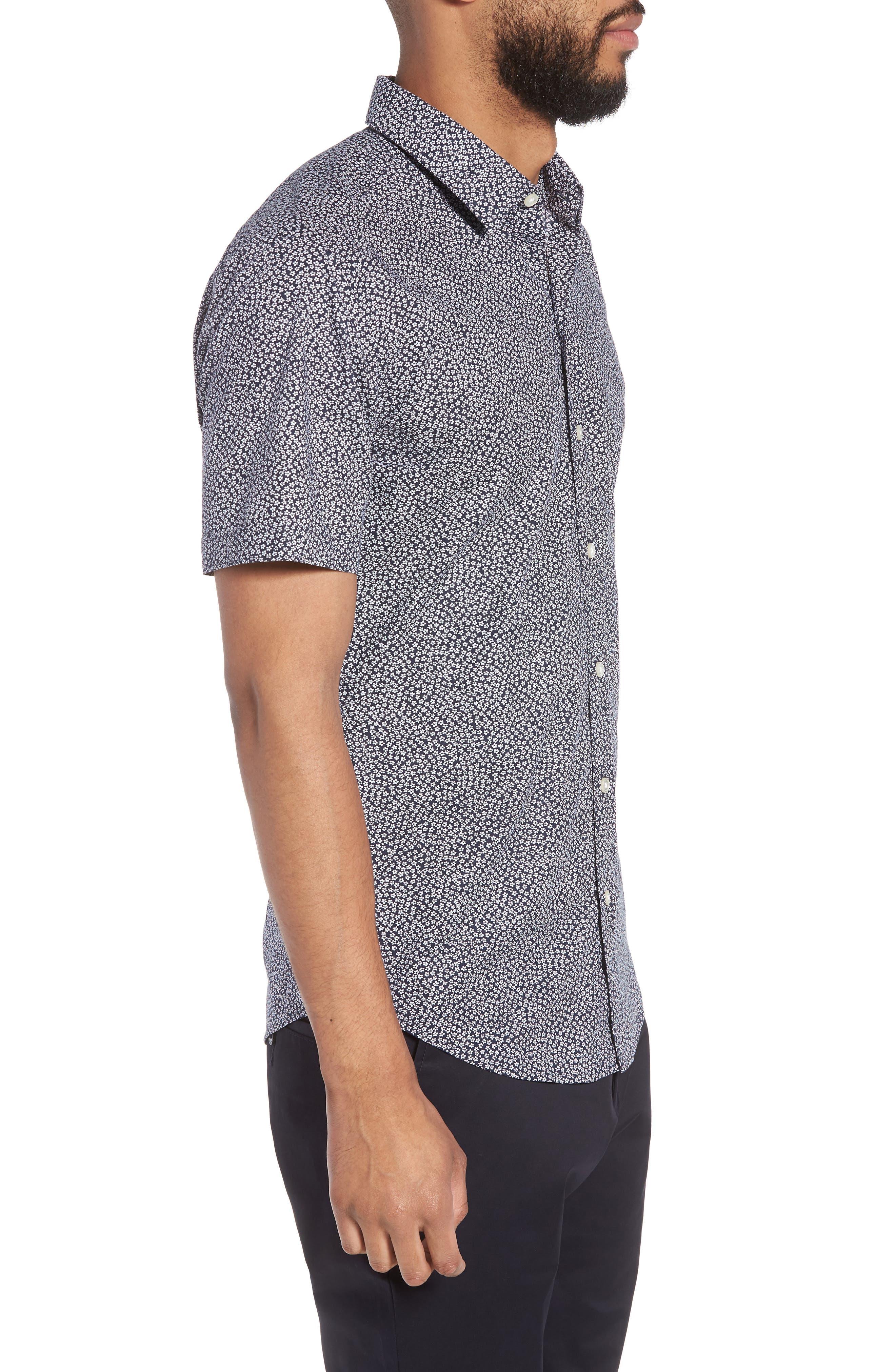 Alternate Image 3  - BOSS Robb Trim Fit Floral Short Sleeve Sport Shirt