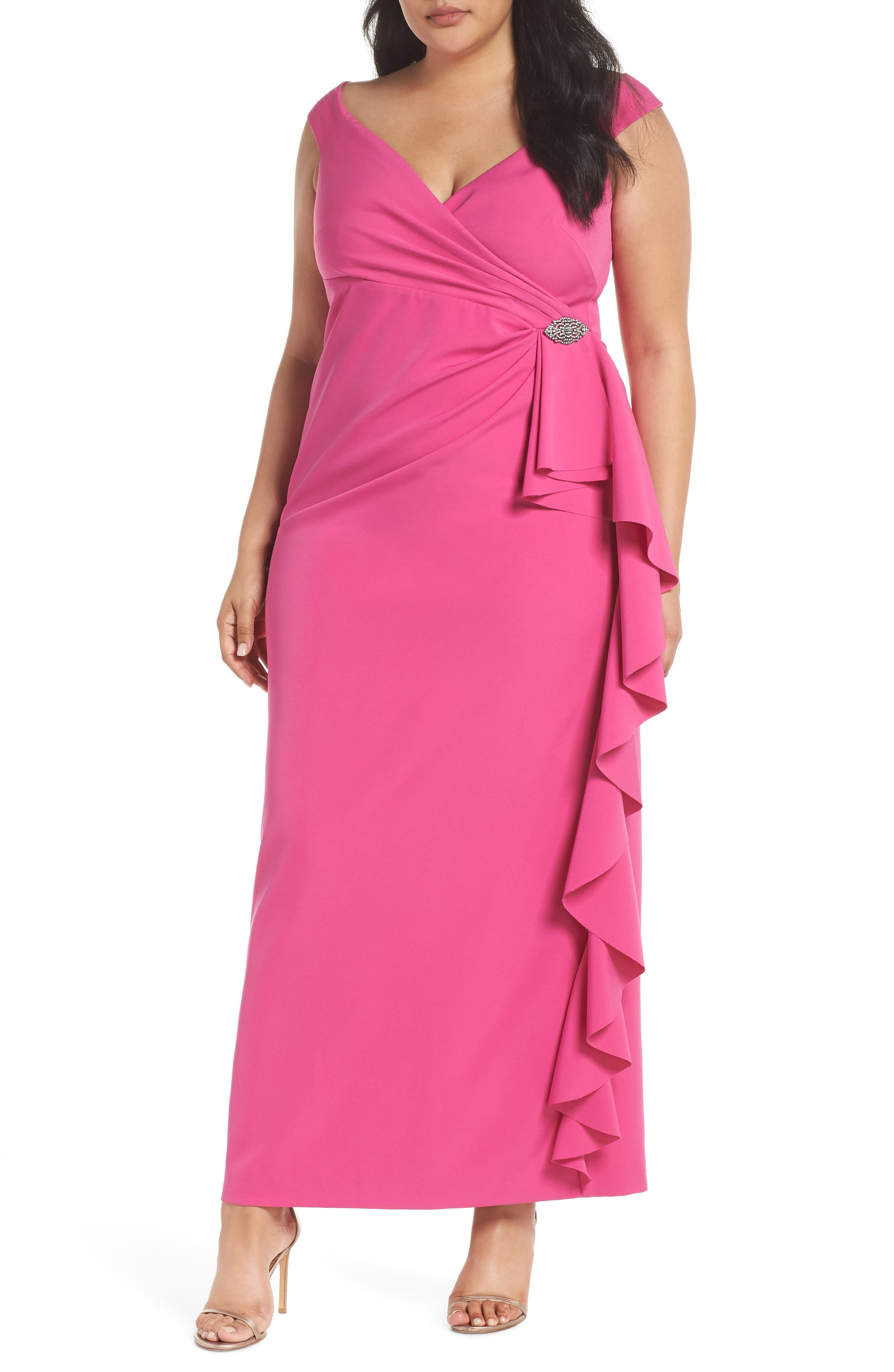 Off the Shoulder Embellished Ruffle Gown,                         Main,                         color, Fuchsia