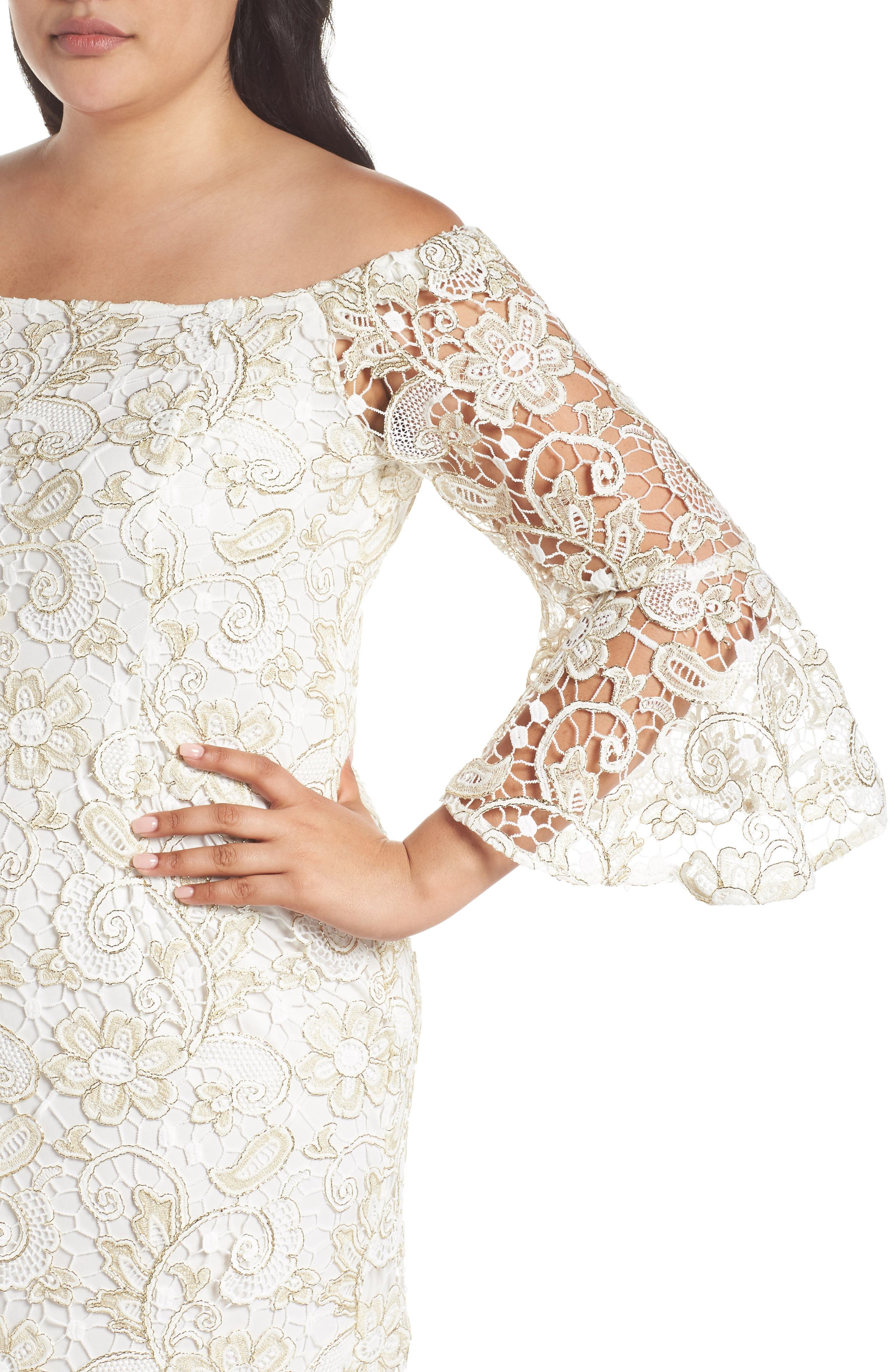 Alternate Image 4  - Marina Lace Off the Shoulder Bell Sleeve Dress (Plus Size)
