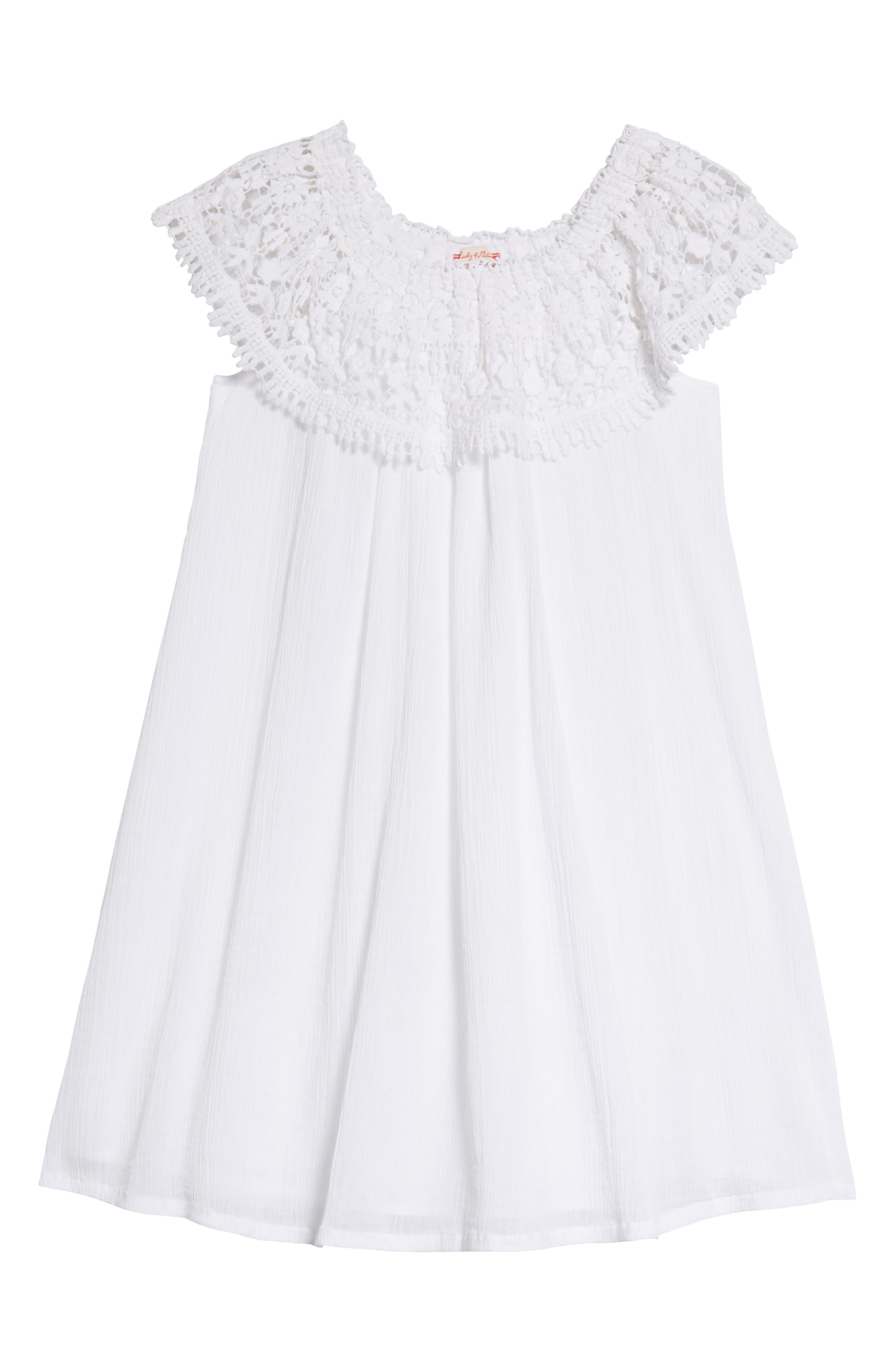 Lace Swing Dress,                             Main thumbnail 1, color,                             White