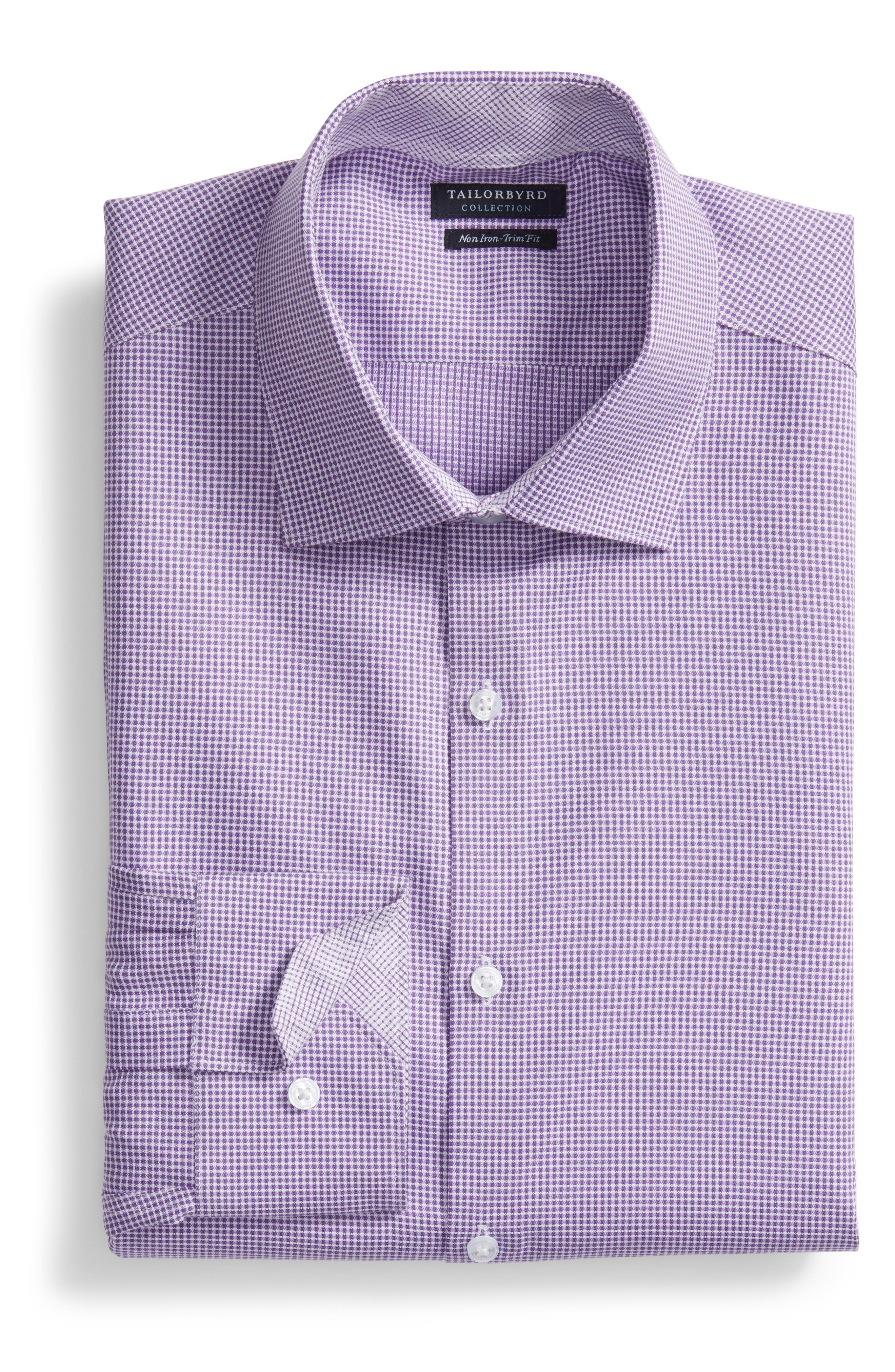 Hayden Trim Fit Check Dress Shirt,                             Alternate thumbnail 6, color,                             Purple