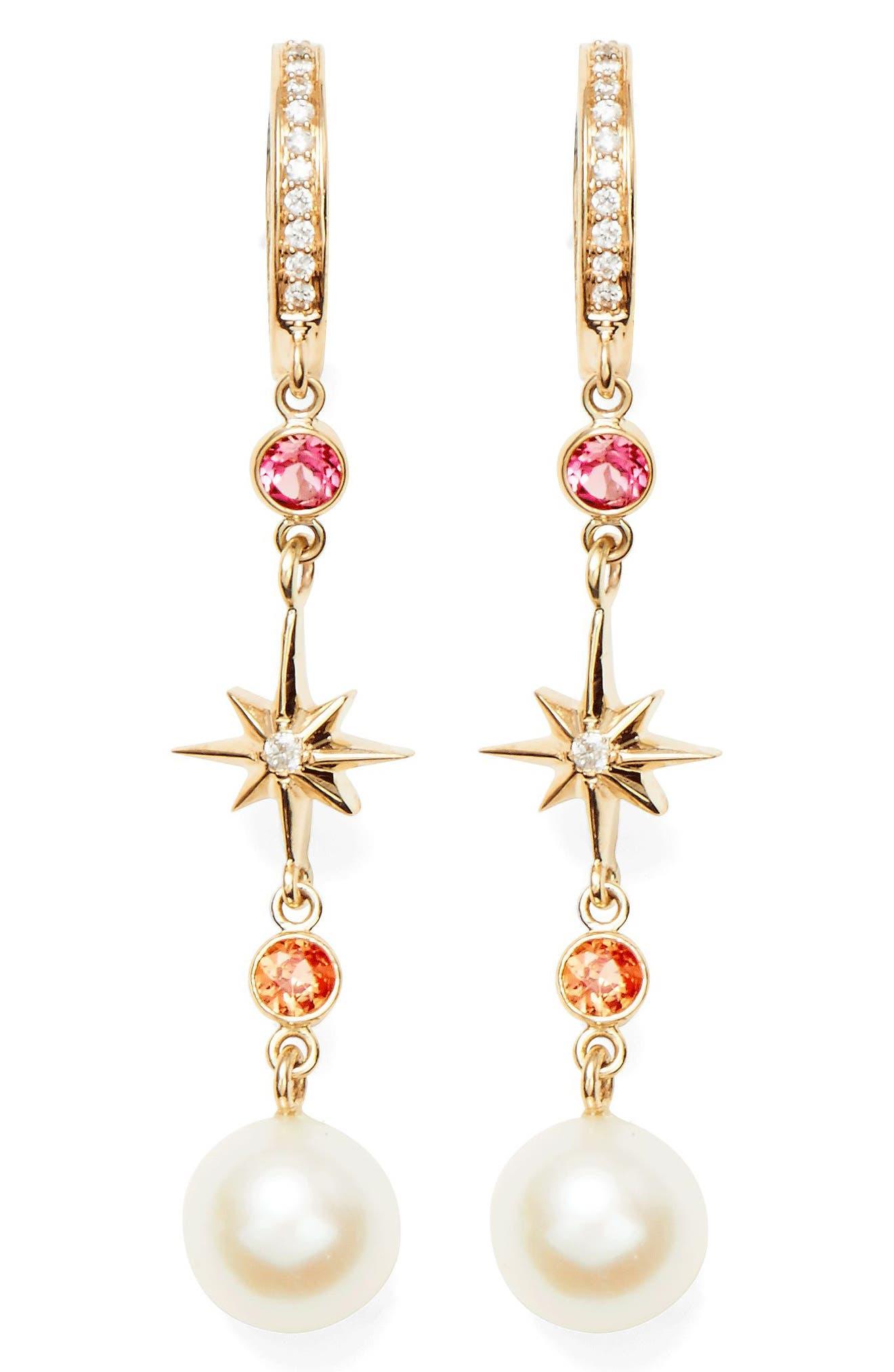 Elixir Linear Pearl, Diamond & Stone Drop Earrings,                         Main,                         color, Yellow Gold