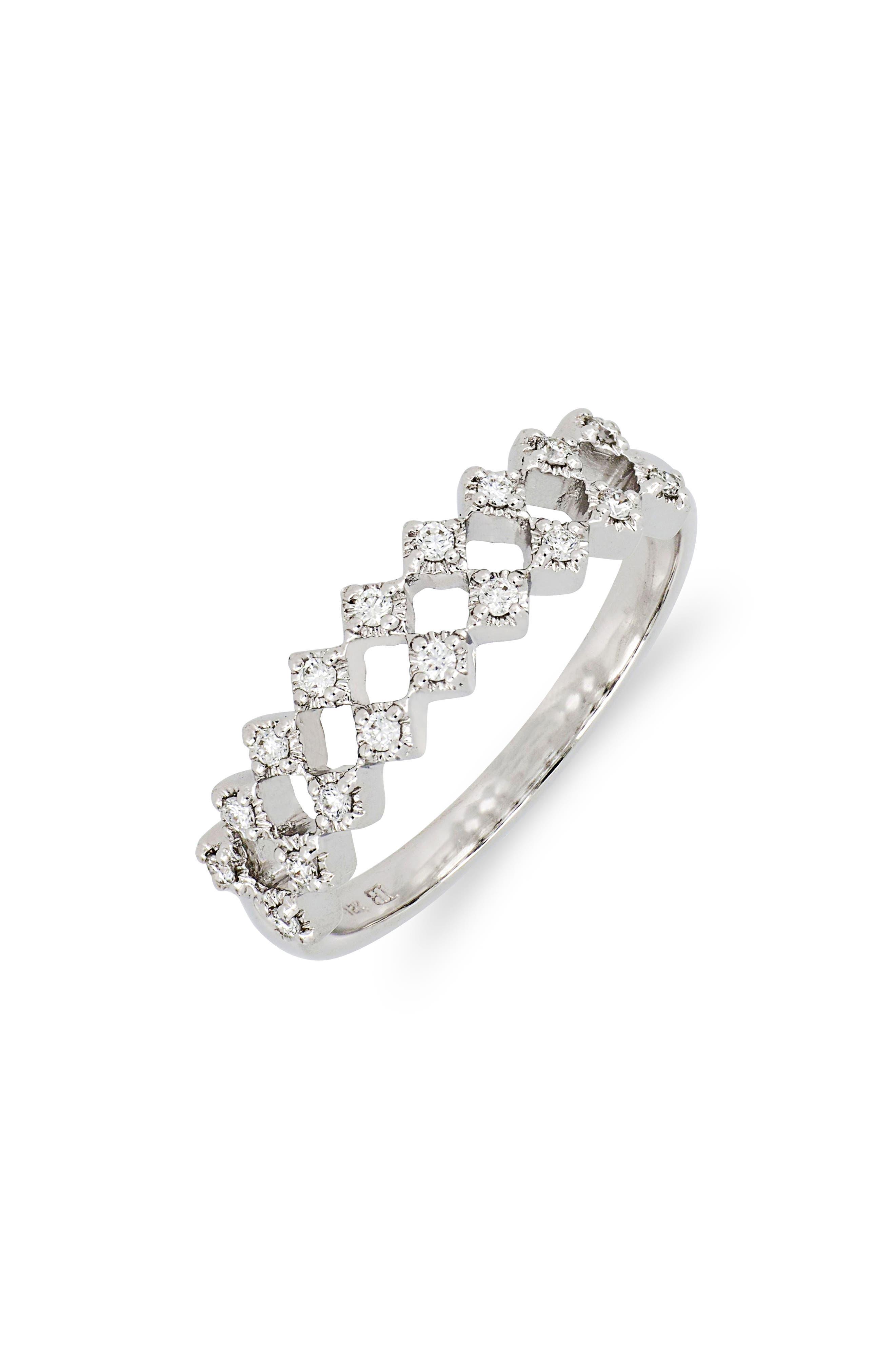 Mila Double Row Diamond Ring,                         Main,                         color, White Gold