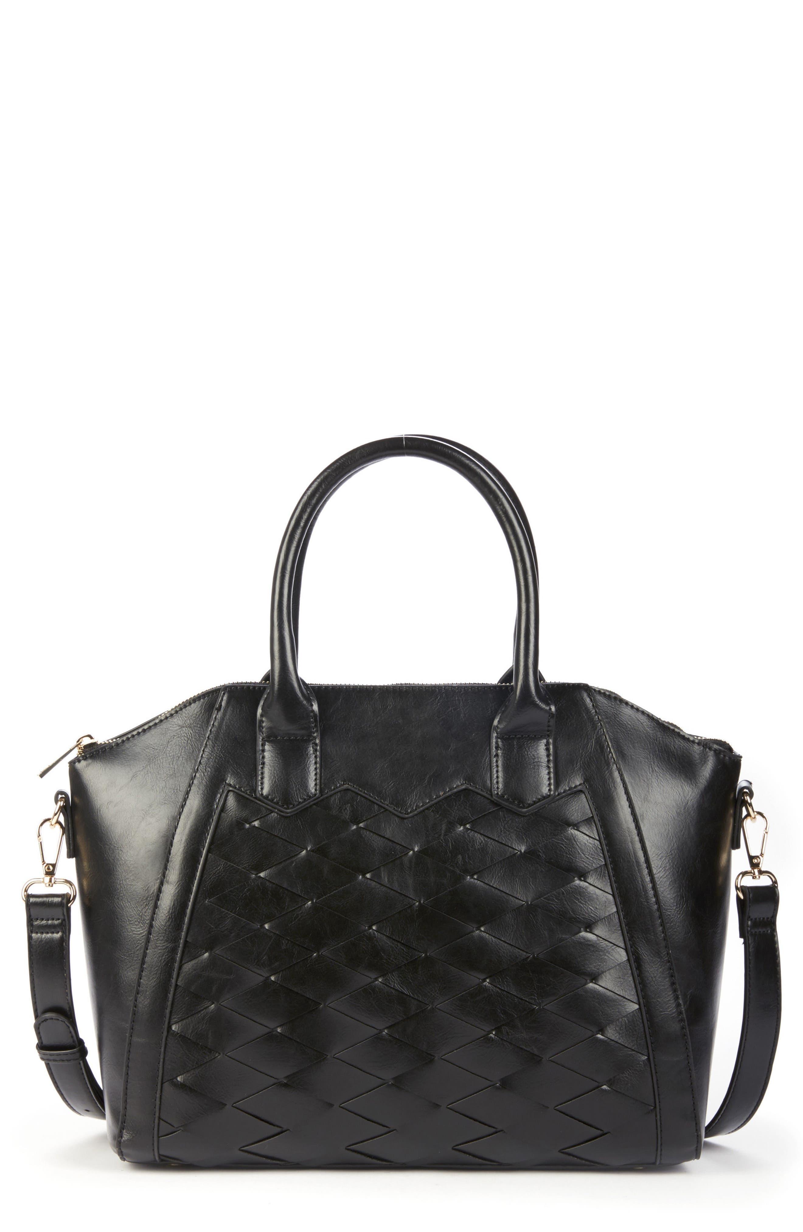 Adrina Faux Leather Satchel,                             Main thumbnail 1, color,                             Black