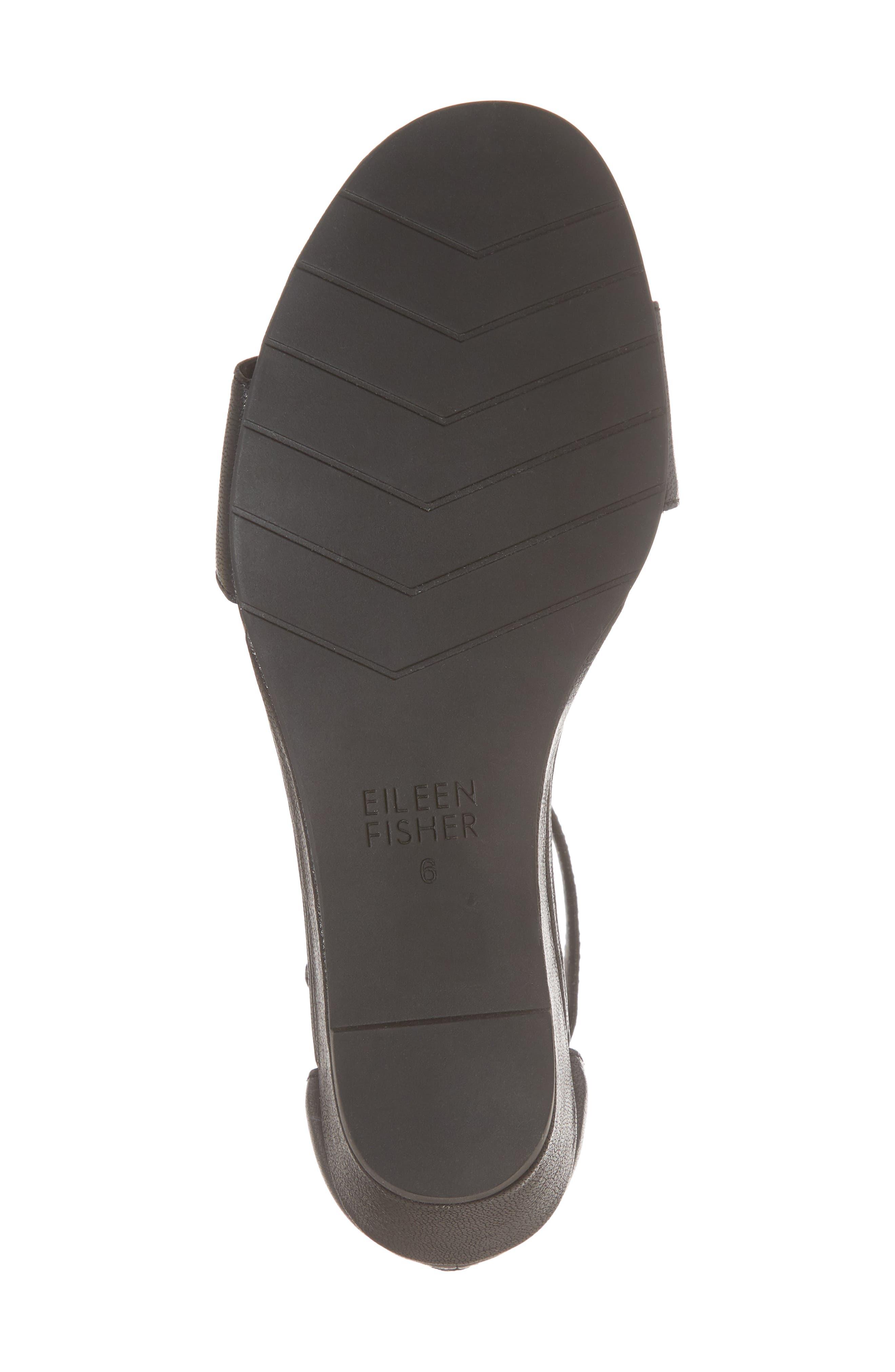 Mara Ankle Strap Wedge Sandal,                             Alternate thumbnail 6, color,                             Black Leather
