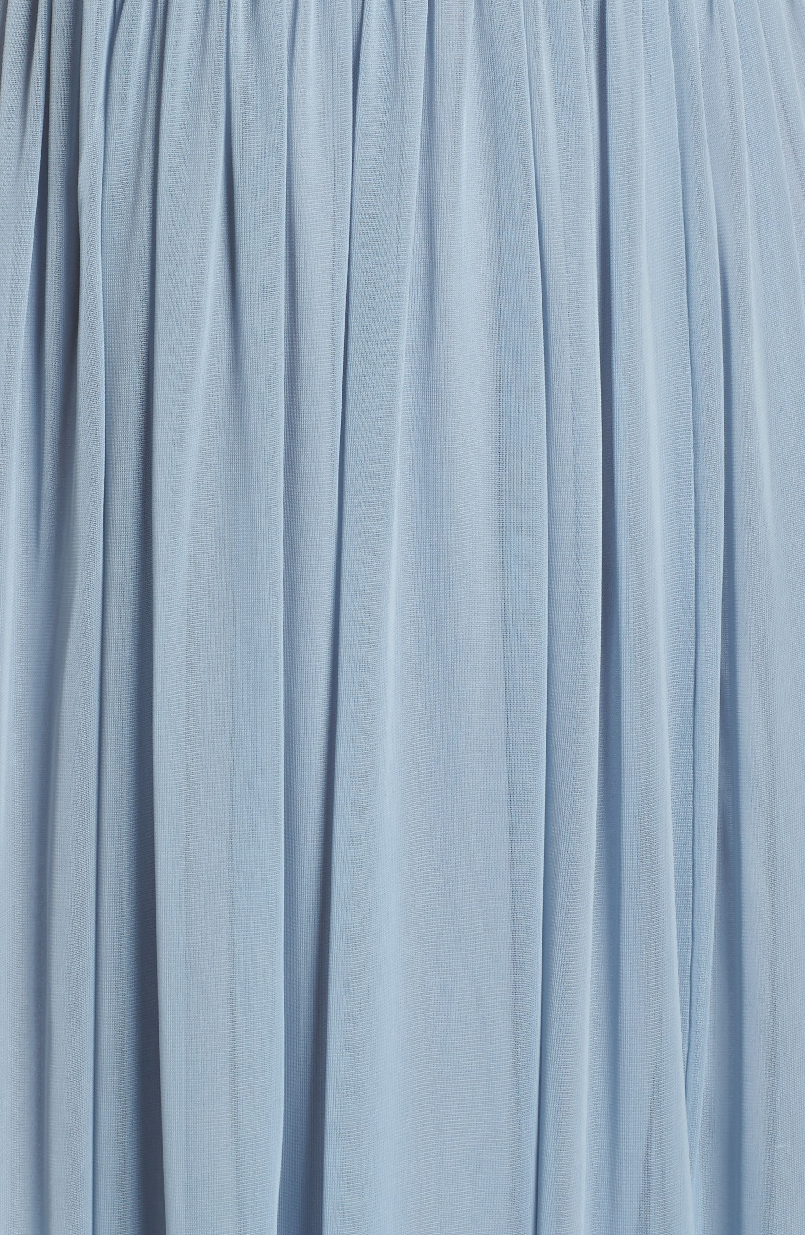 Shirred Chiffon Gown,                             Alternate thumbnail 5, color,                             Dusty Periwinkle