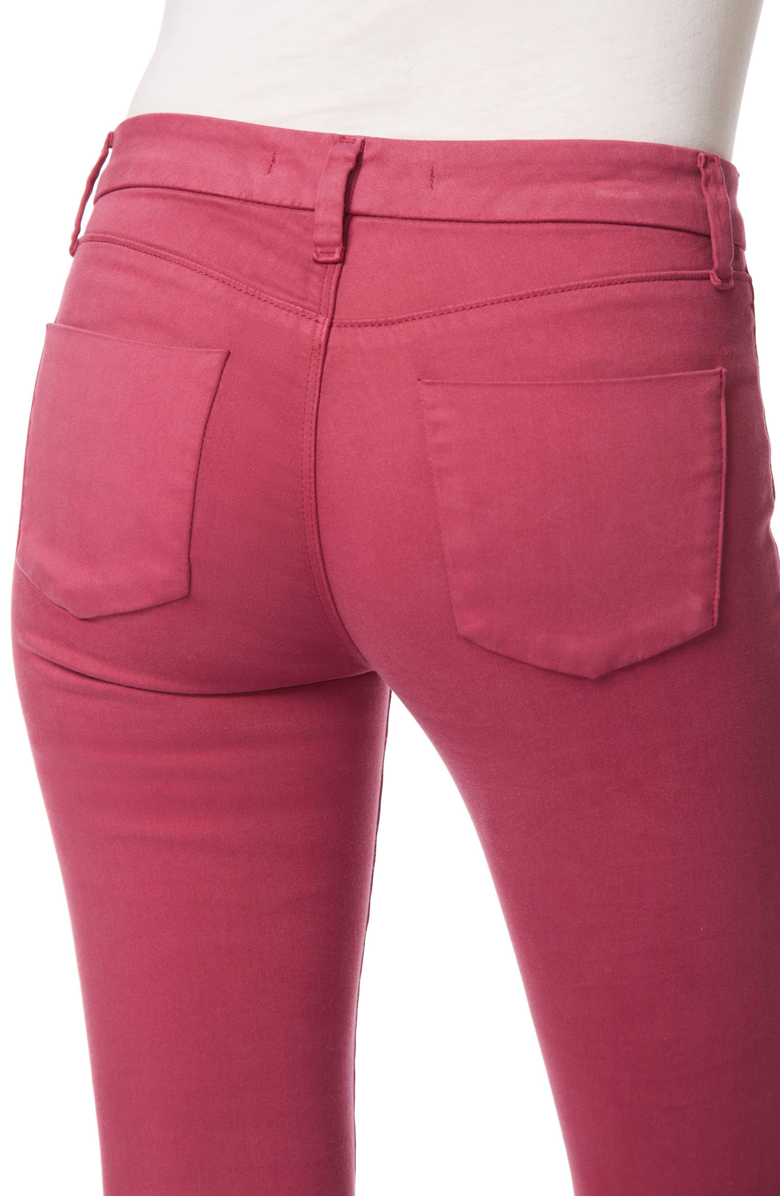 Anja Cuff Crop Jeans,                             Alternate thumbnail 5, color,                             Deep Plum
