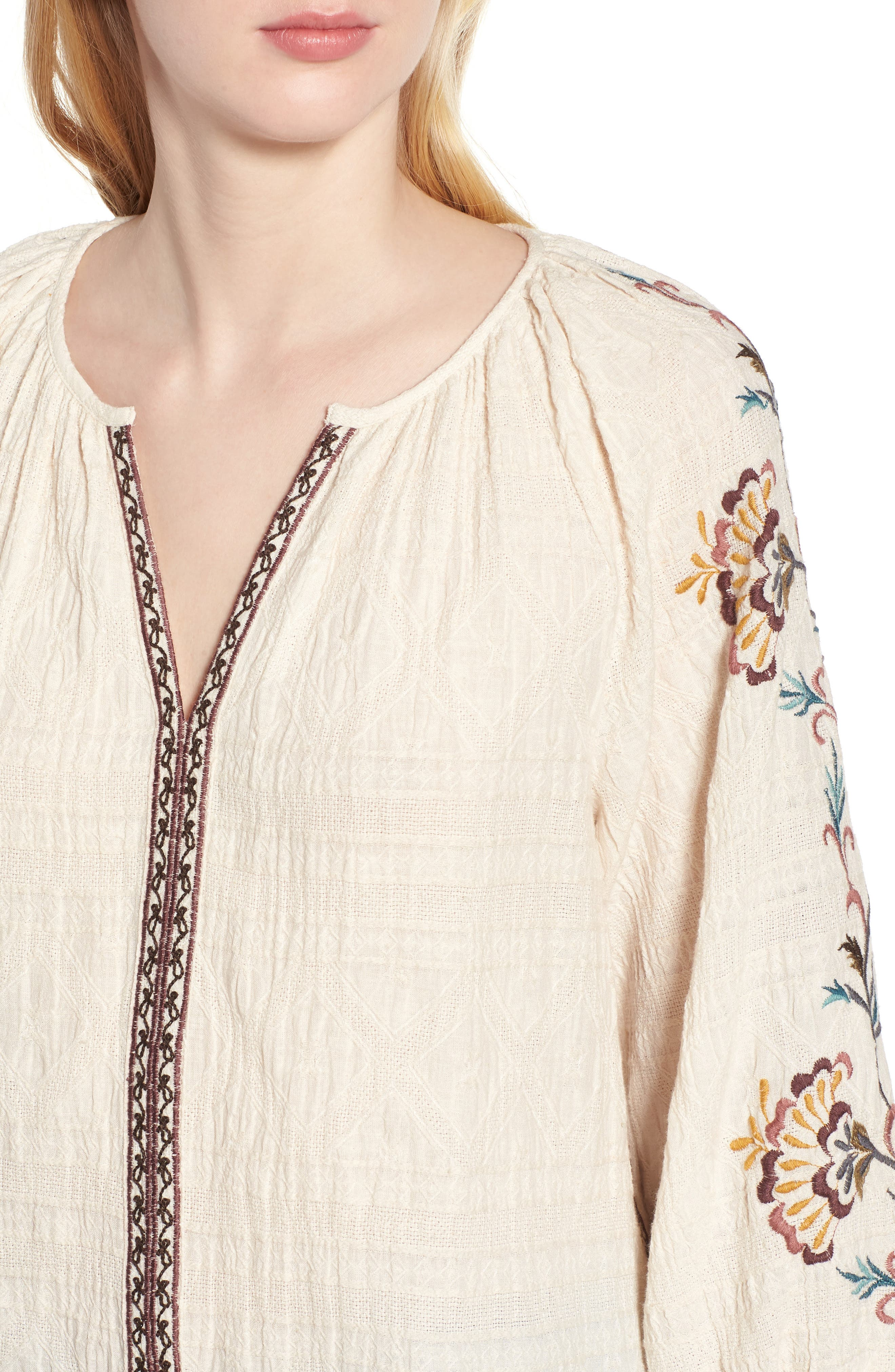 Embroidered Peasant Blouse,                             Alternate thumbnail 4, color,                             Natural Multi