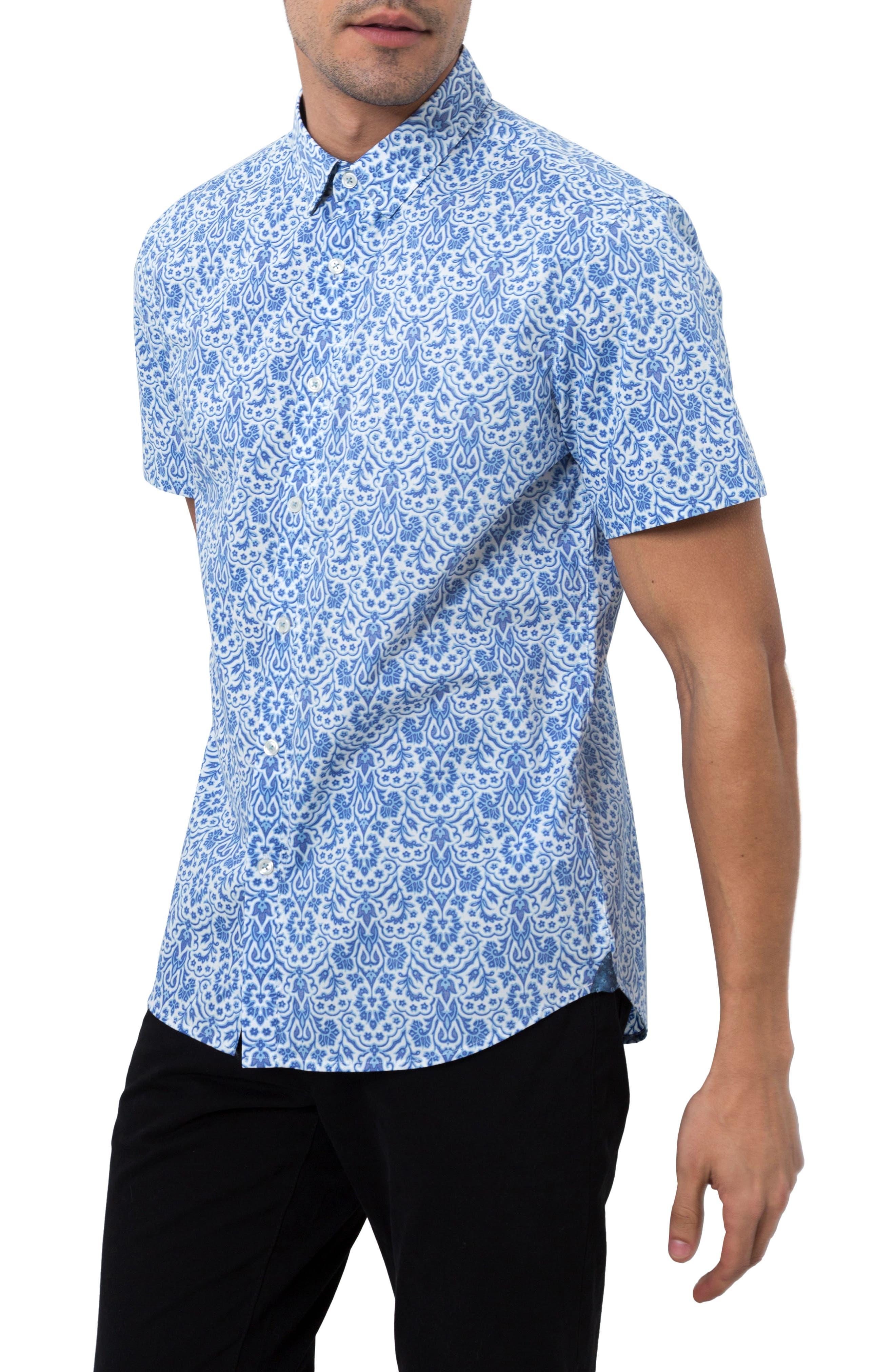 Route 66 Print Sport Shirt,                             Alternate thumbnail 3, color,                             Blue