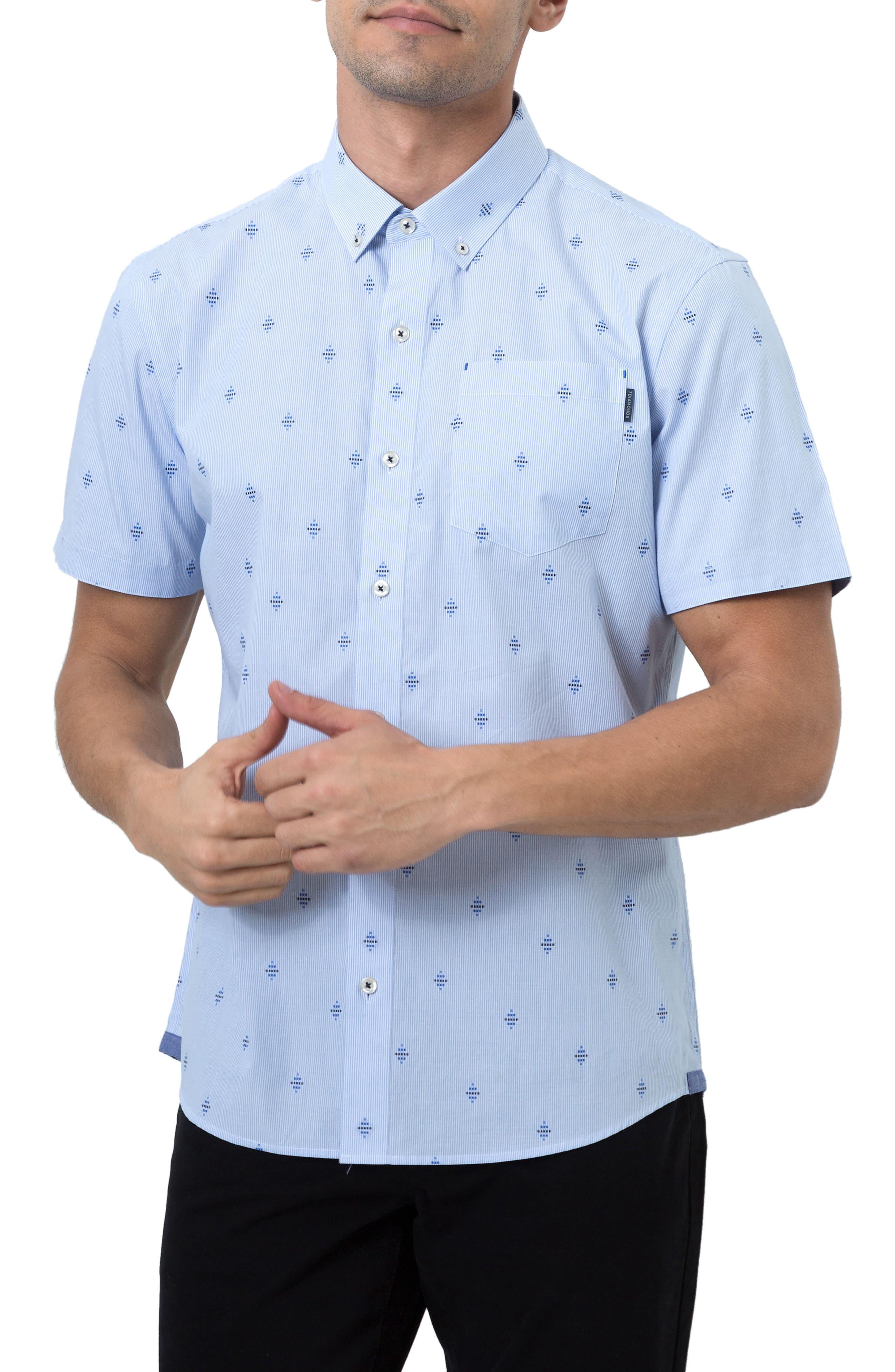 Summer Sky Stripe Dobby Diamond Sport Shirt,                             Main thumbnail 1, color,                             Blue