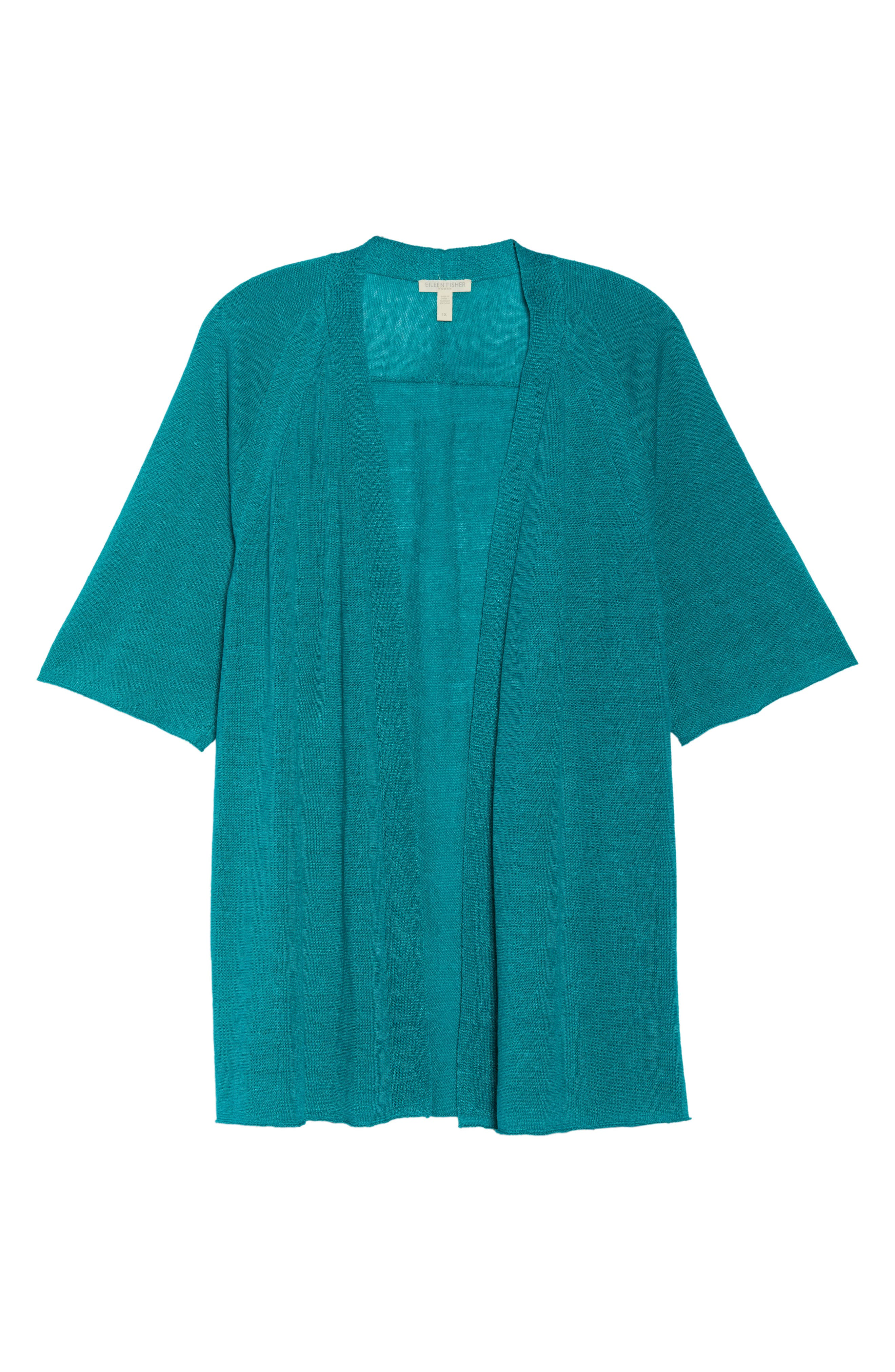 Organic Linen Cardigan,                             Alternate thumbnail 7, color,                             Turquoise