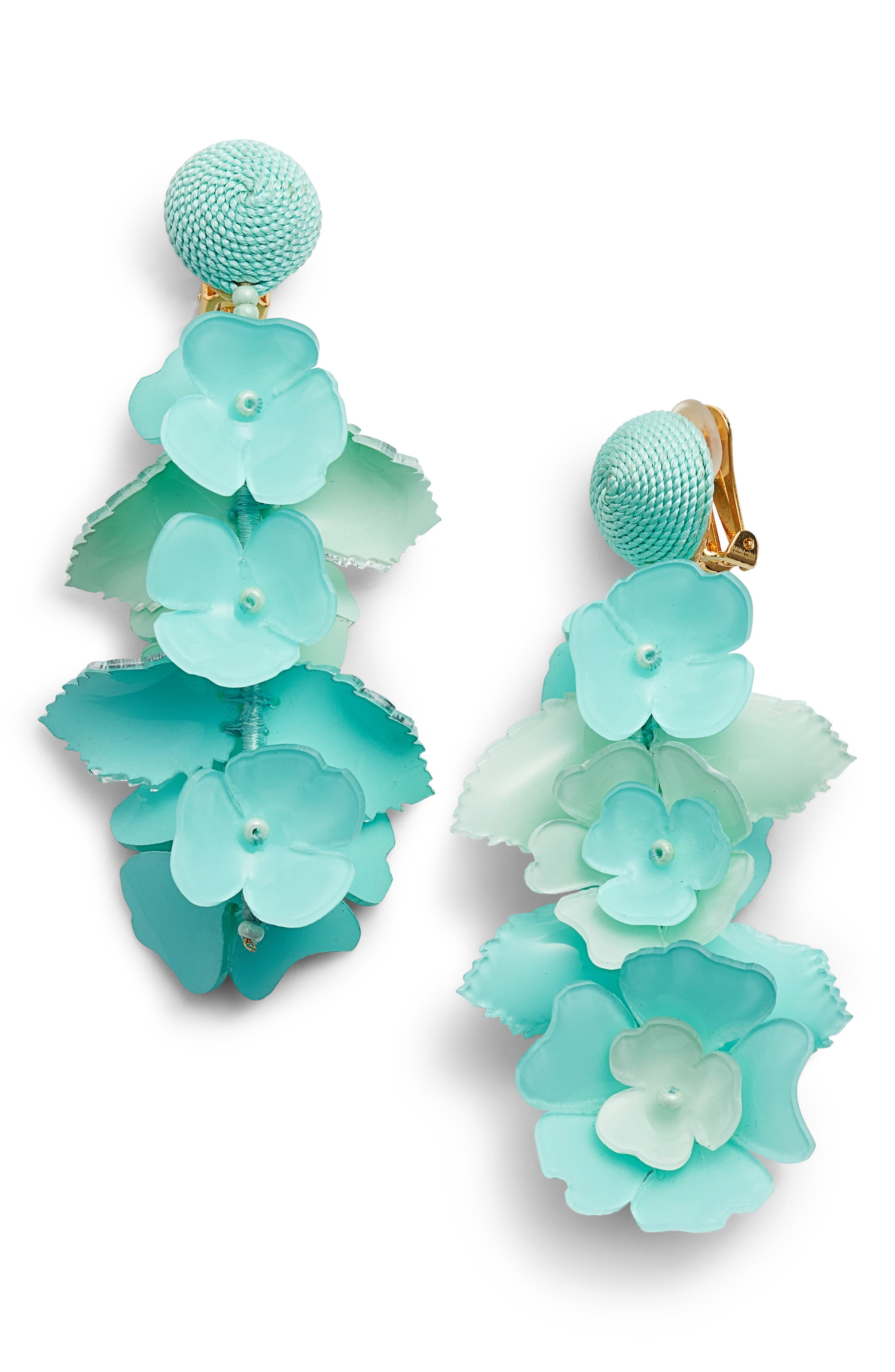 Oscar de la Renta Climbing Flower Drop Earrings