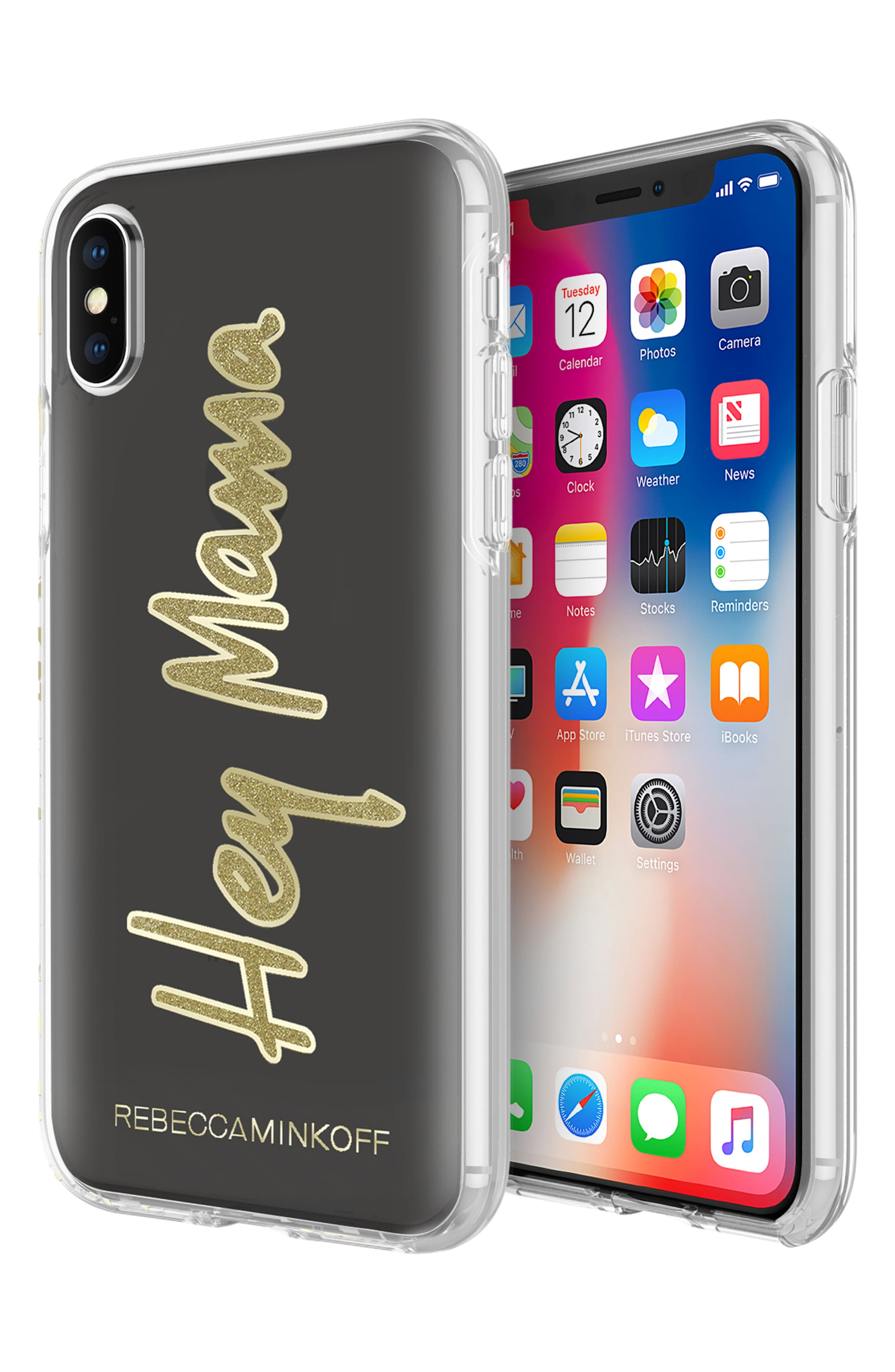 Hey Mama iPhone X Case,                             Alternate thumbnail 2, color,                             Black/ Gold Glitter