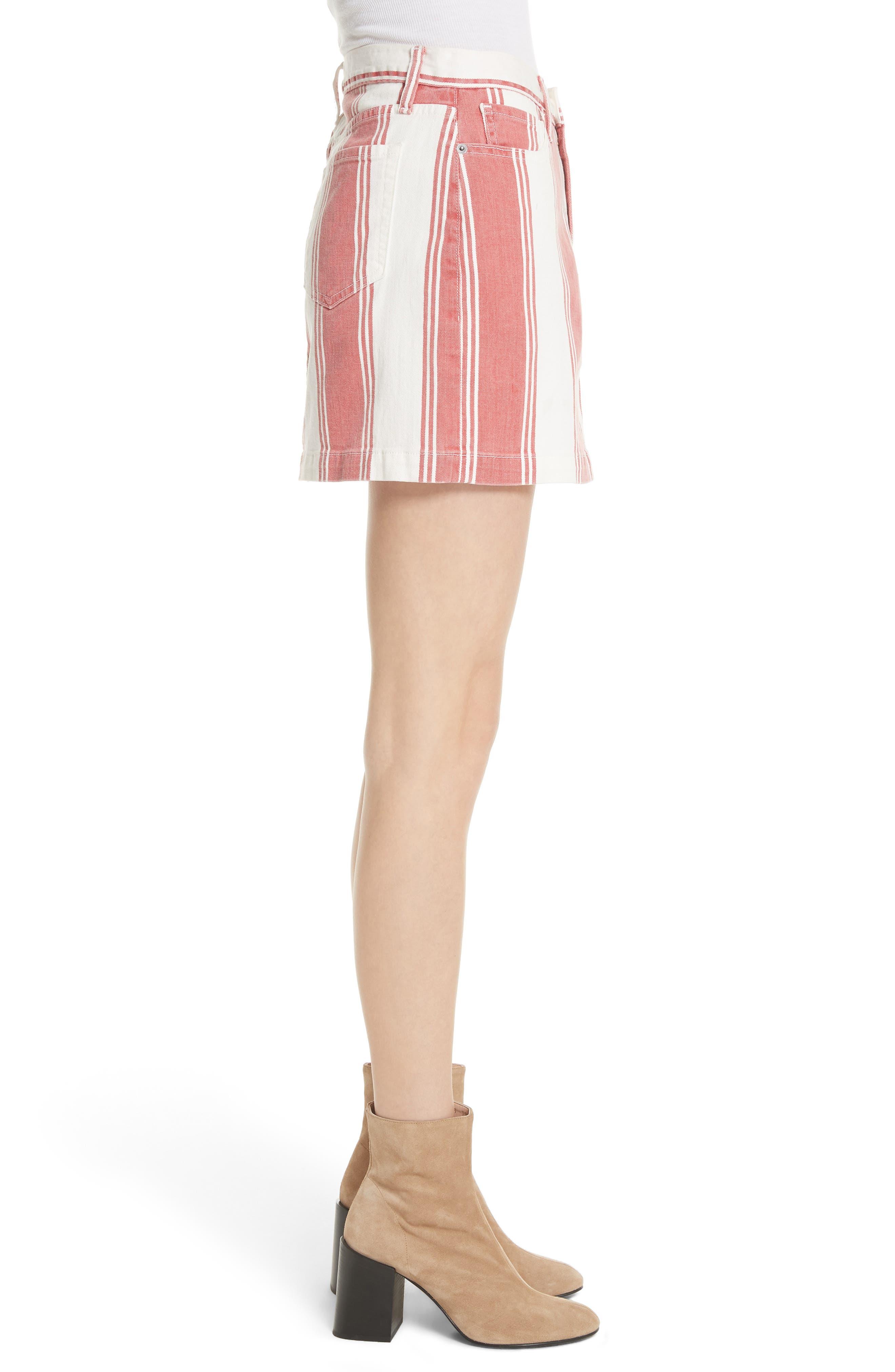 Le Mini Stripe Denim Skirt,                             Alternate thumbnail 5, color,                             Fiery Stripe