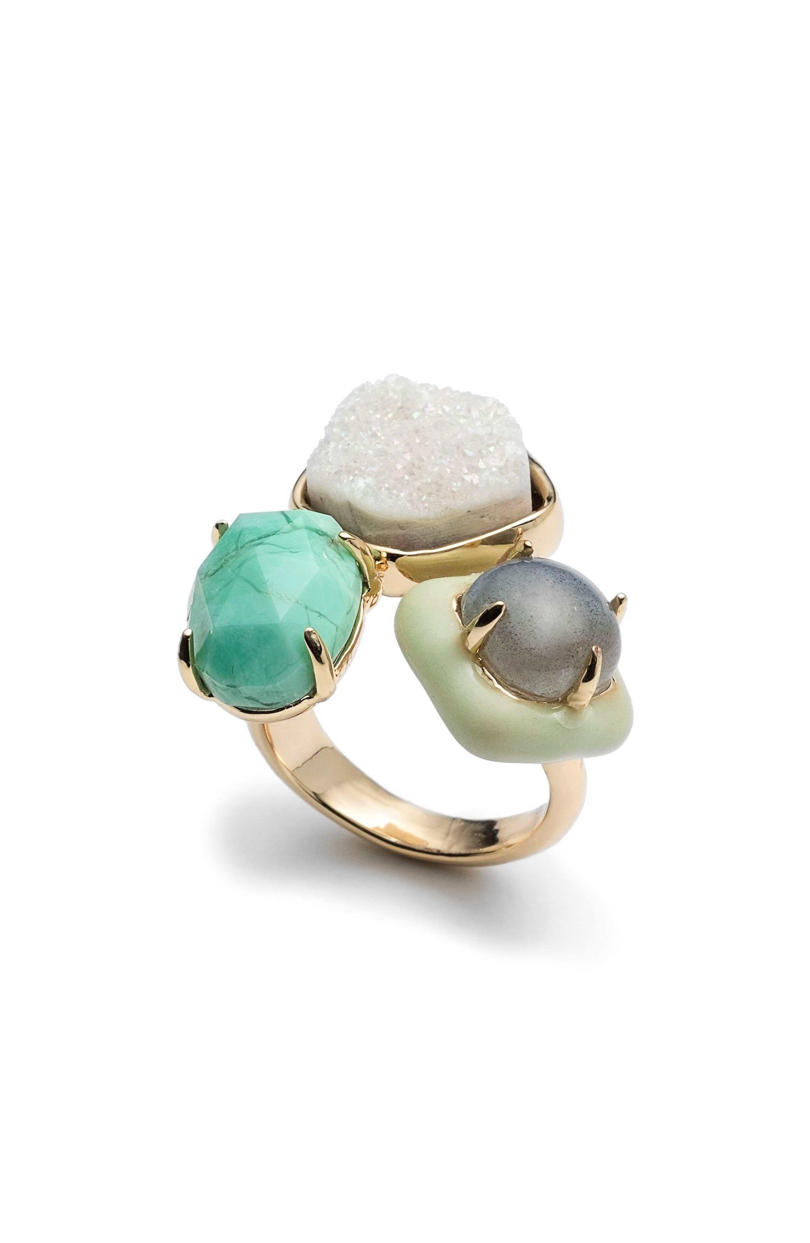 Drusy Enamel Detail Ring,                             Main thumbnail 1, color,                             Gold