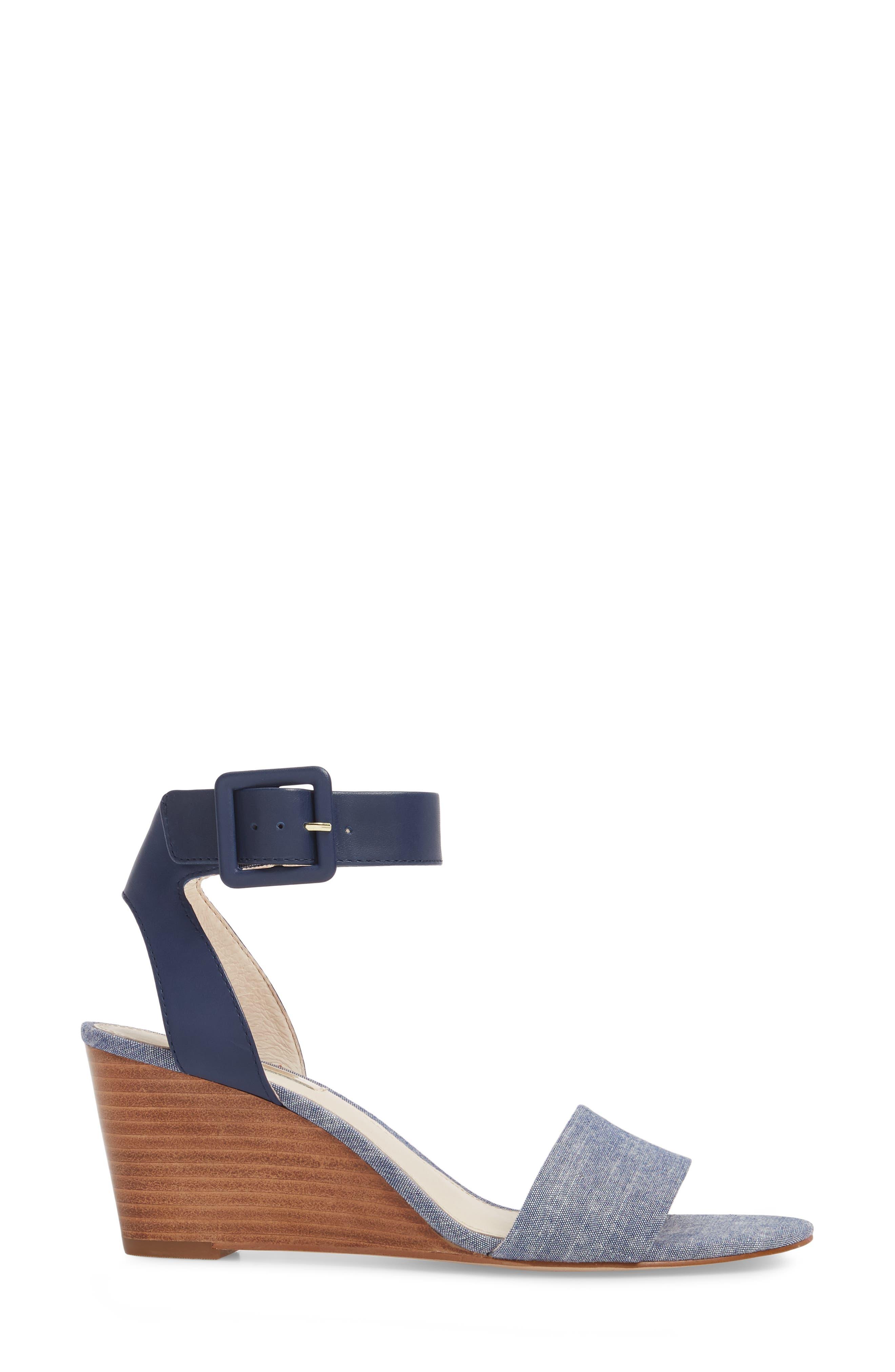 Punya Wedge Sandal,                             Alternate thumbnail 3, color,                             Denim Fabric
