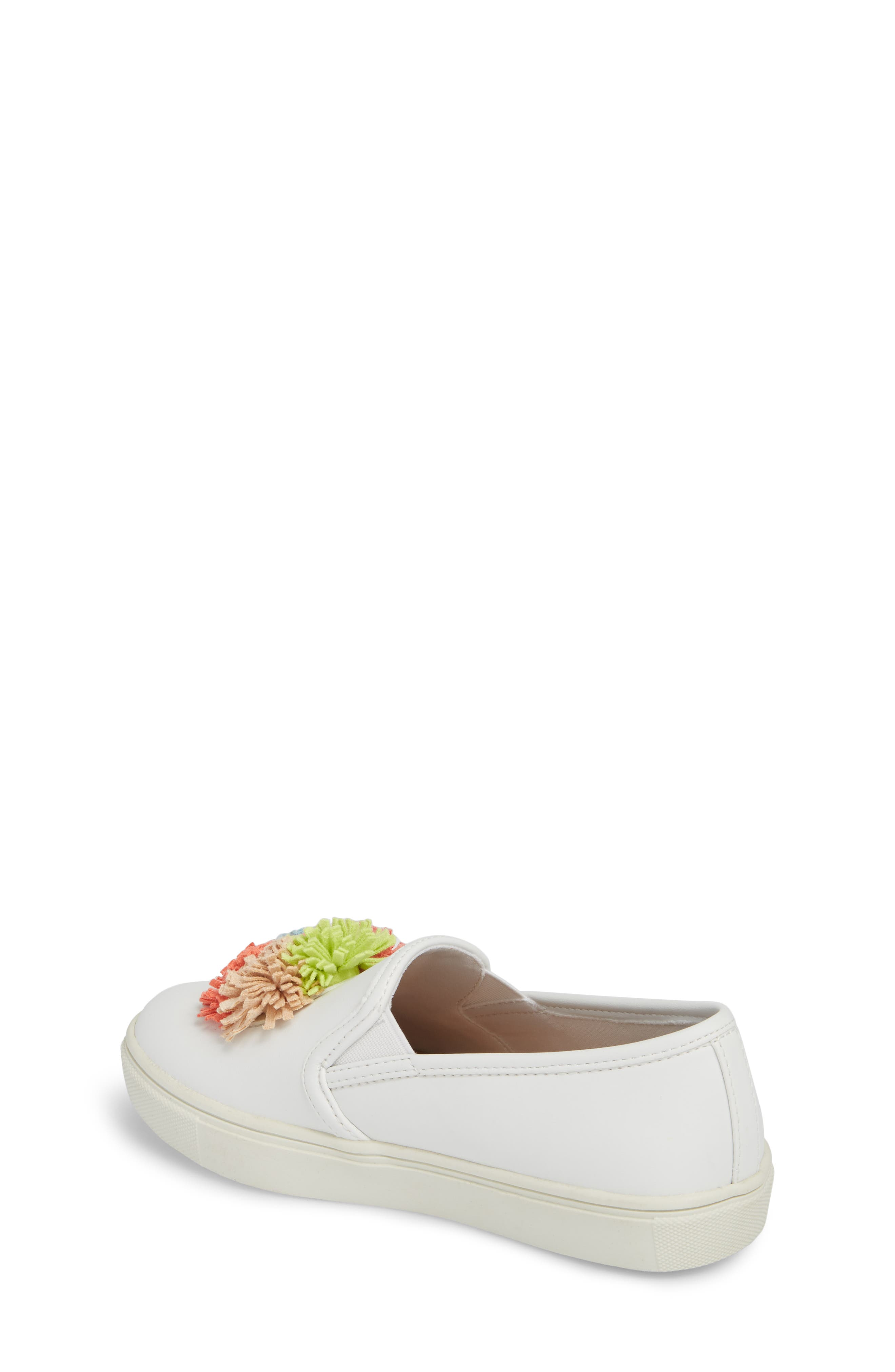 Twiny Pompom Slip-On Sneaker,                             Alternate thumbnail 2, color,                             White Faux Leather