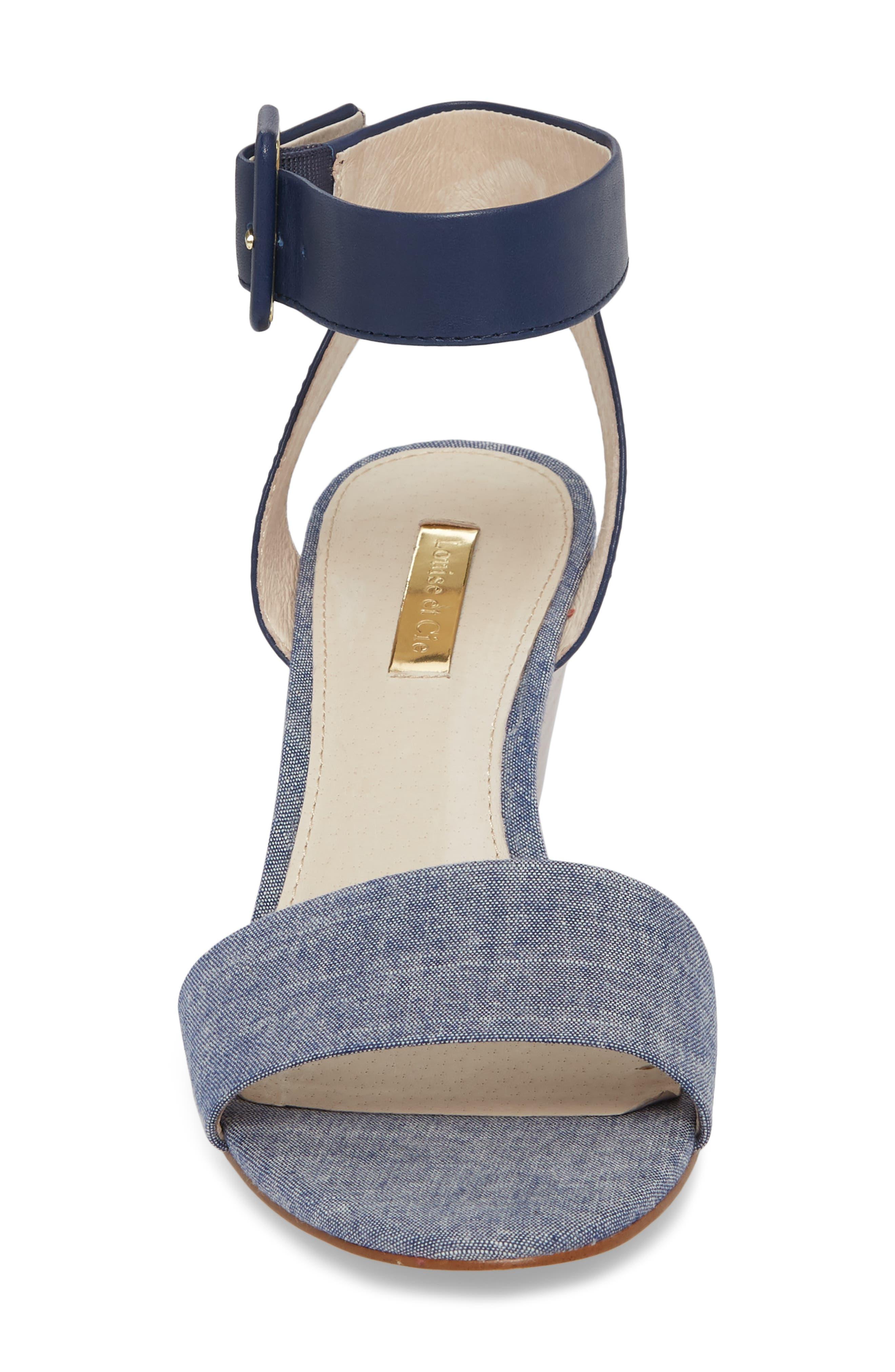 Punya Wedge Sandal,                             Alternate thumbnail 4, color,                             Denim Fabric