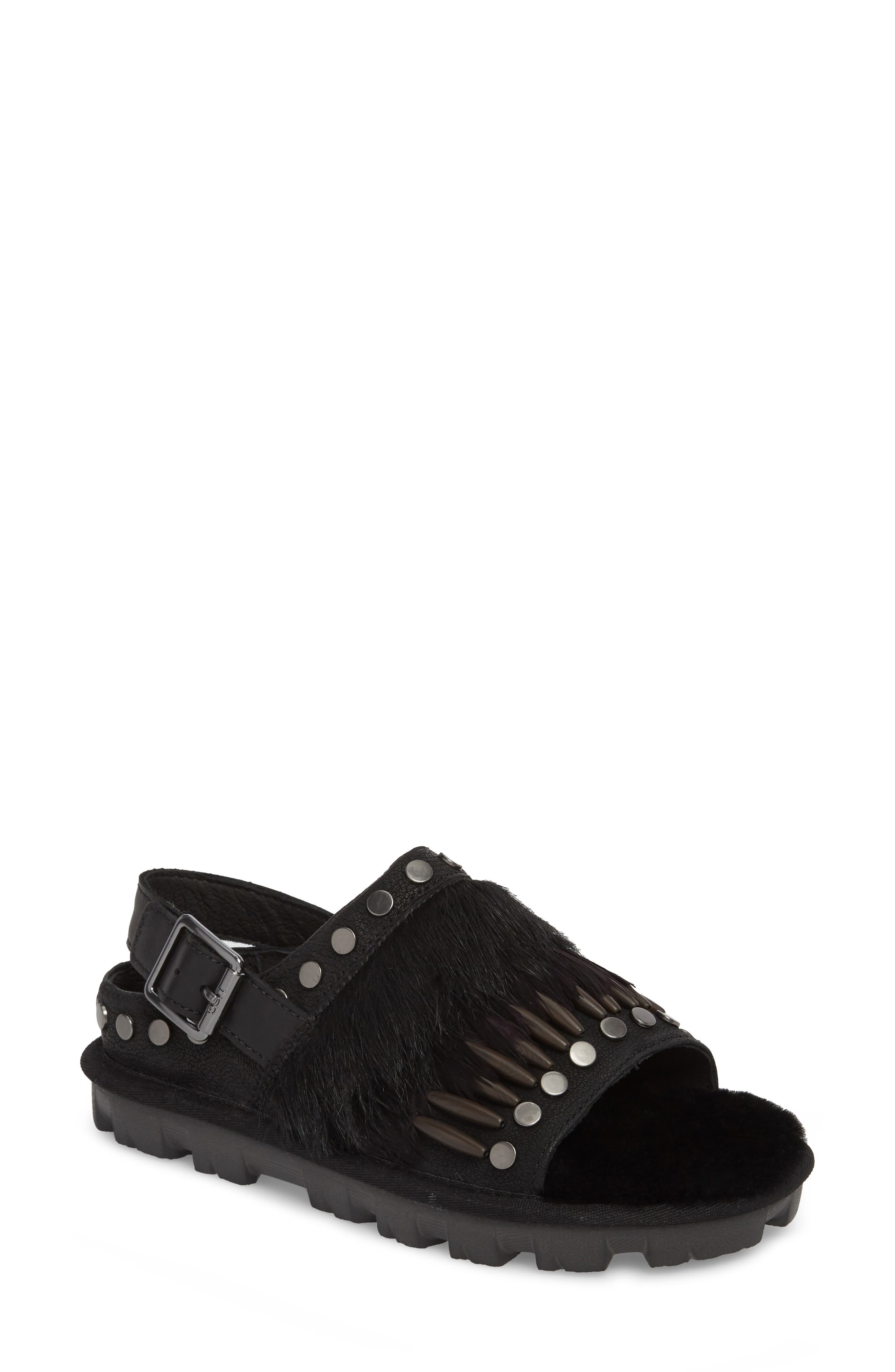 Biker Chic Genuine Shearling & Feather Sandal,                             Main thumbnail 1, color,                             Black Leather