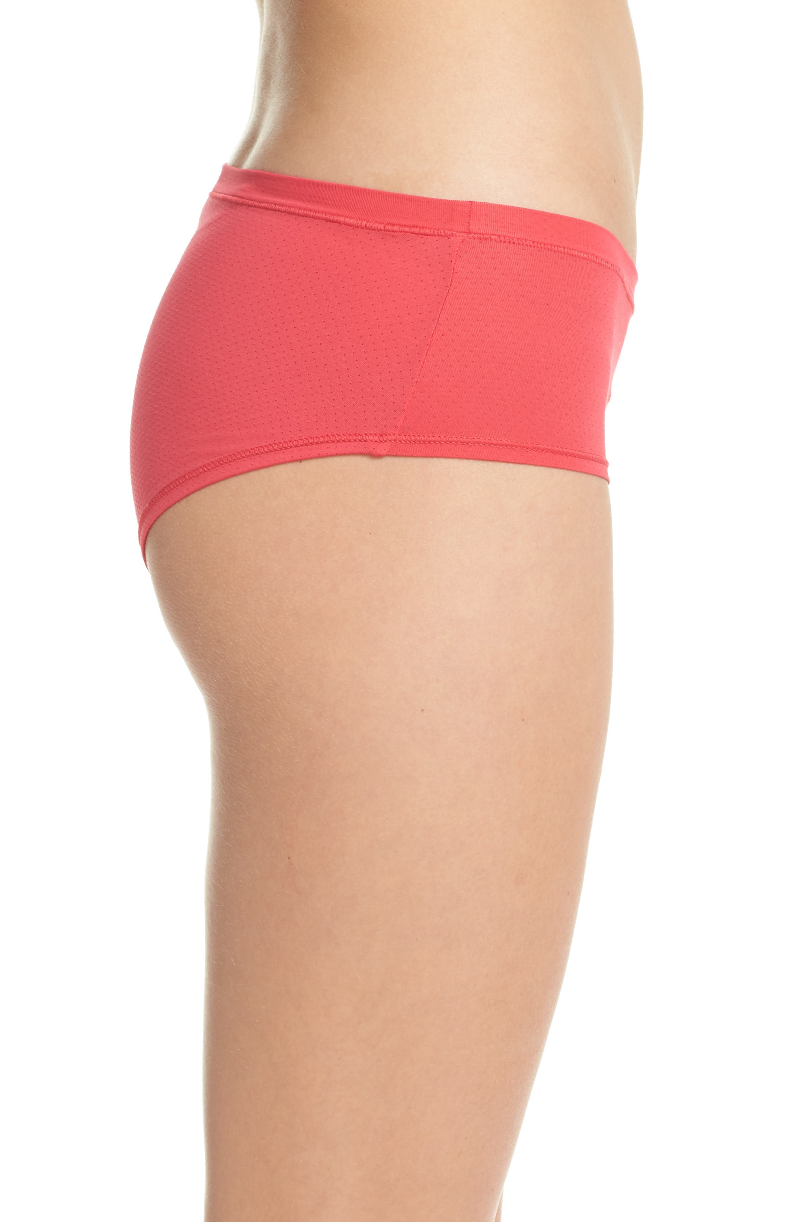 Active Mesh Hipster Briefs,                             Alternate thumbnail 3, color,                             Red Hibiscus