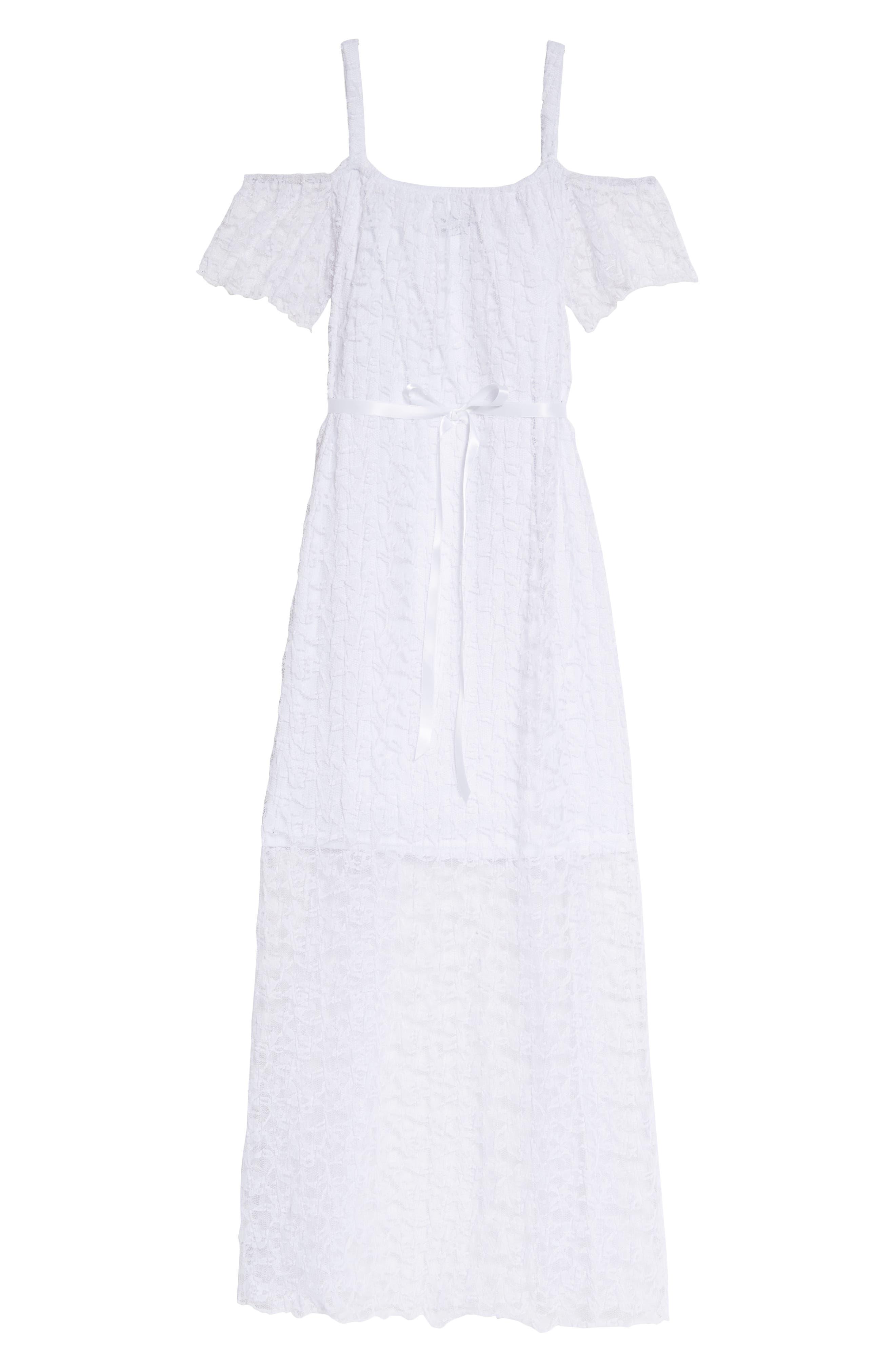 Alternate Image 2  - BLUSH by Us Angels Lace Cold Shoulder Maxi Dress (Big Girls)