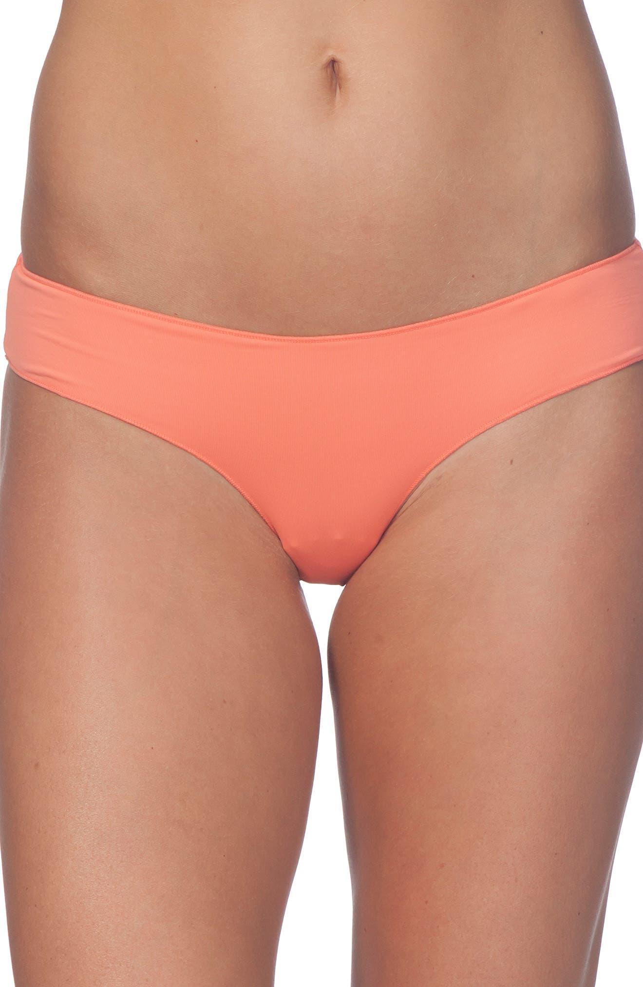 Classic Surf Hipster Bikini Bottom,                         Main,                         color, Coral