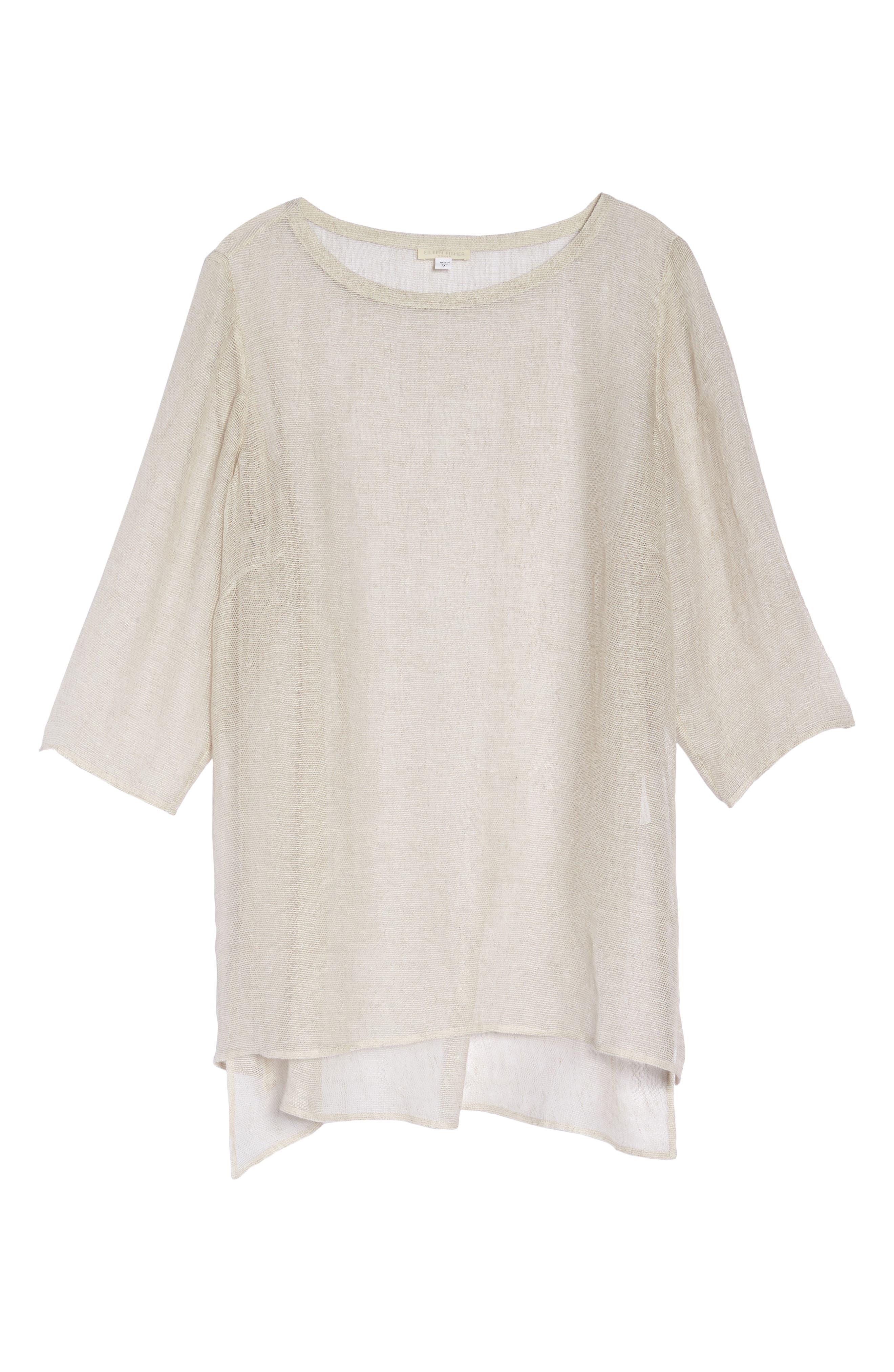 Organic Linen Mesh Tunic,                             Alternate thumbnail 7, color,                             Undyed Natural