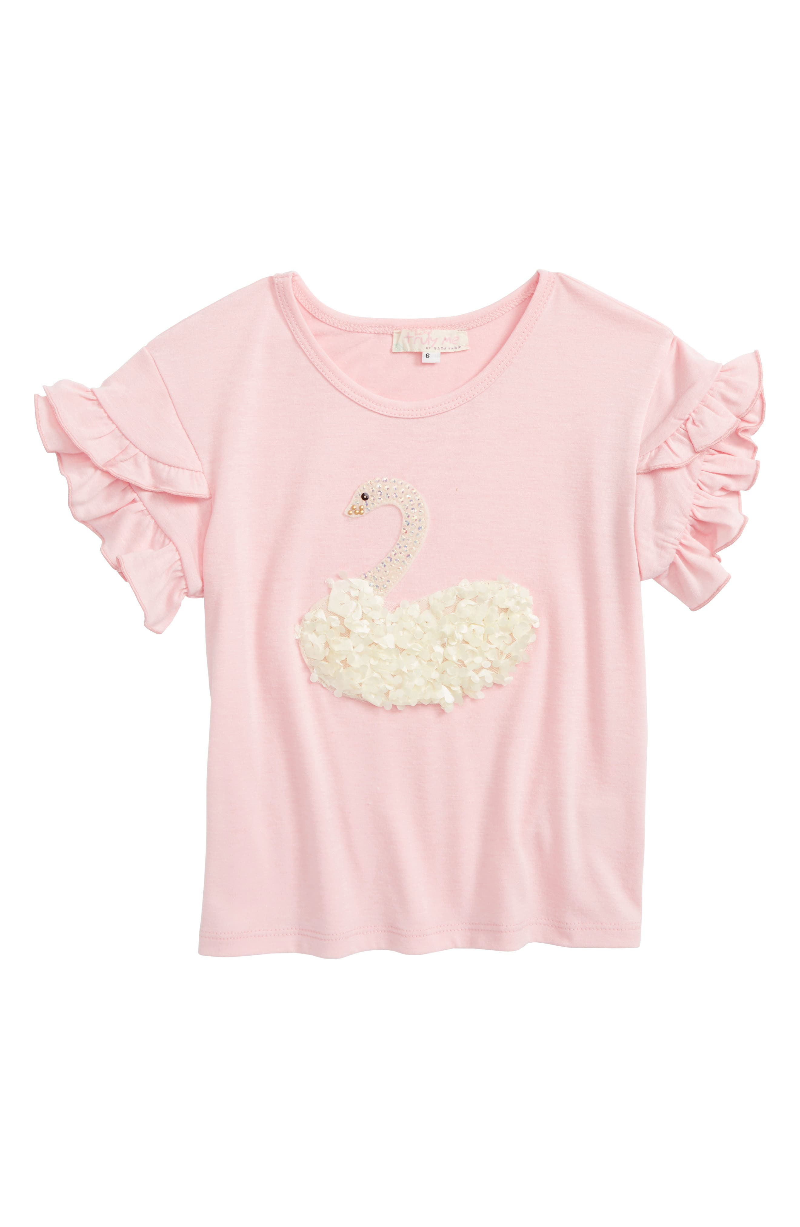 Truly Me Swan Appliqué Tee (Toddler Girls & Little Girls)