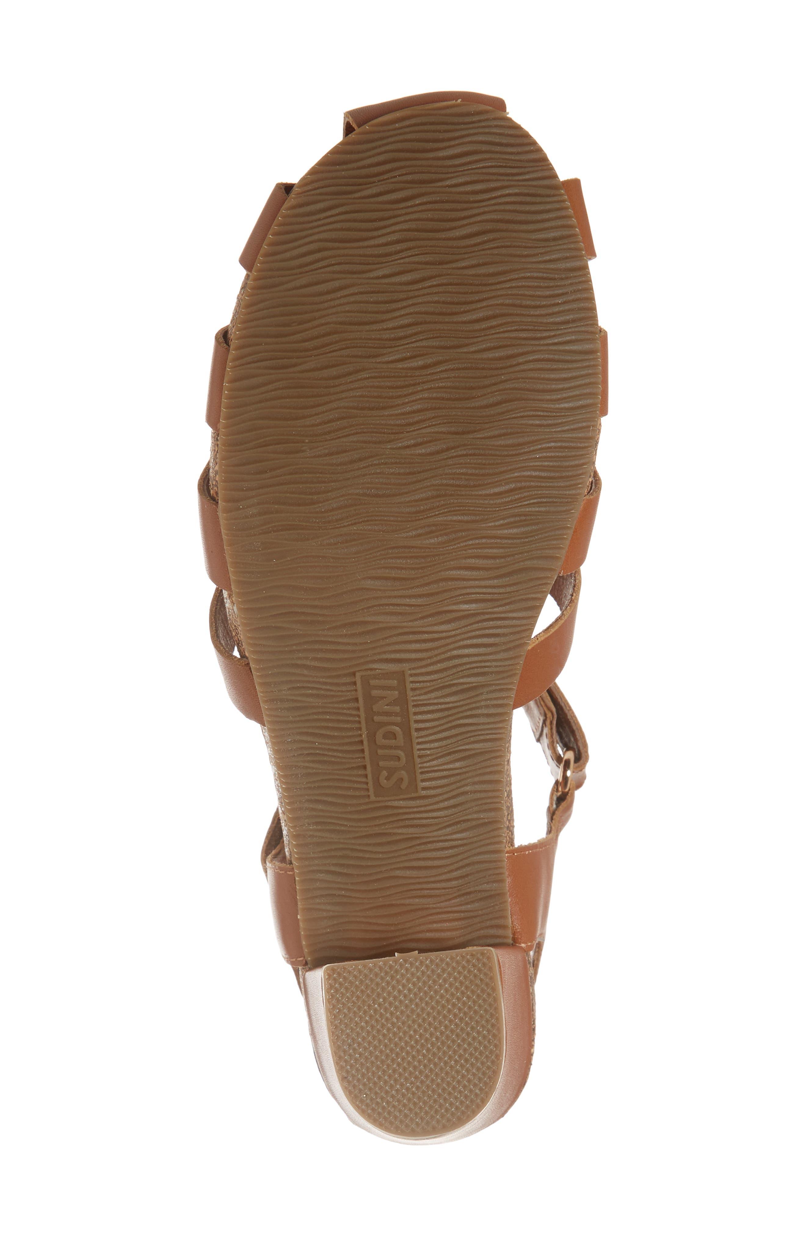Carrara Block Heel Sandal,                             Alternate thumbnail 6, color,                             Cognac Leather