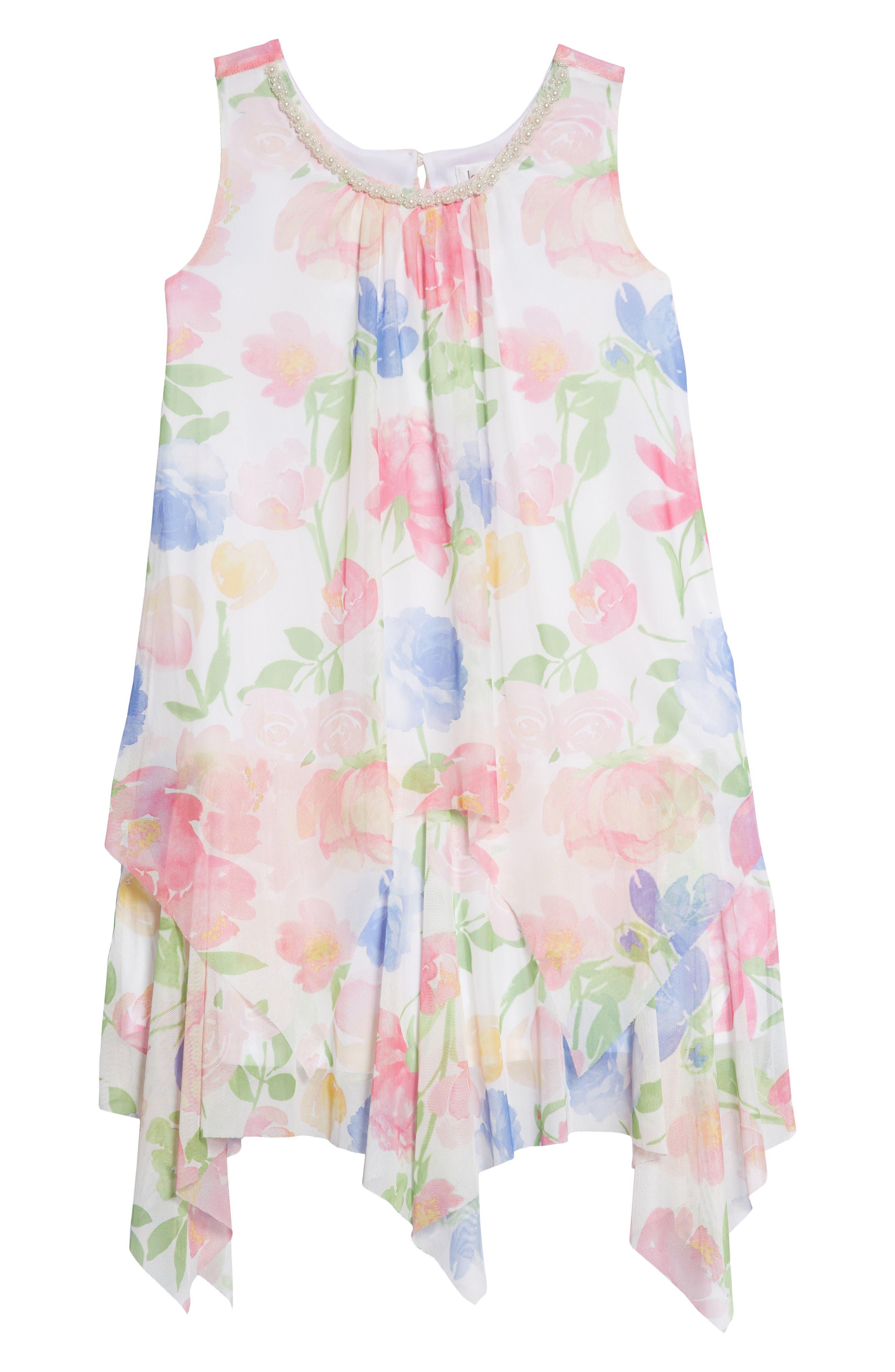 Floral Handkerchief Hem Dress,                             Main thumbnail 1, color,                             Multi