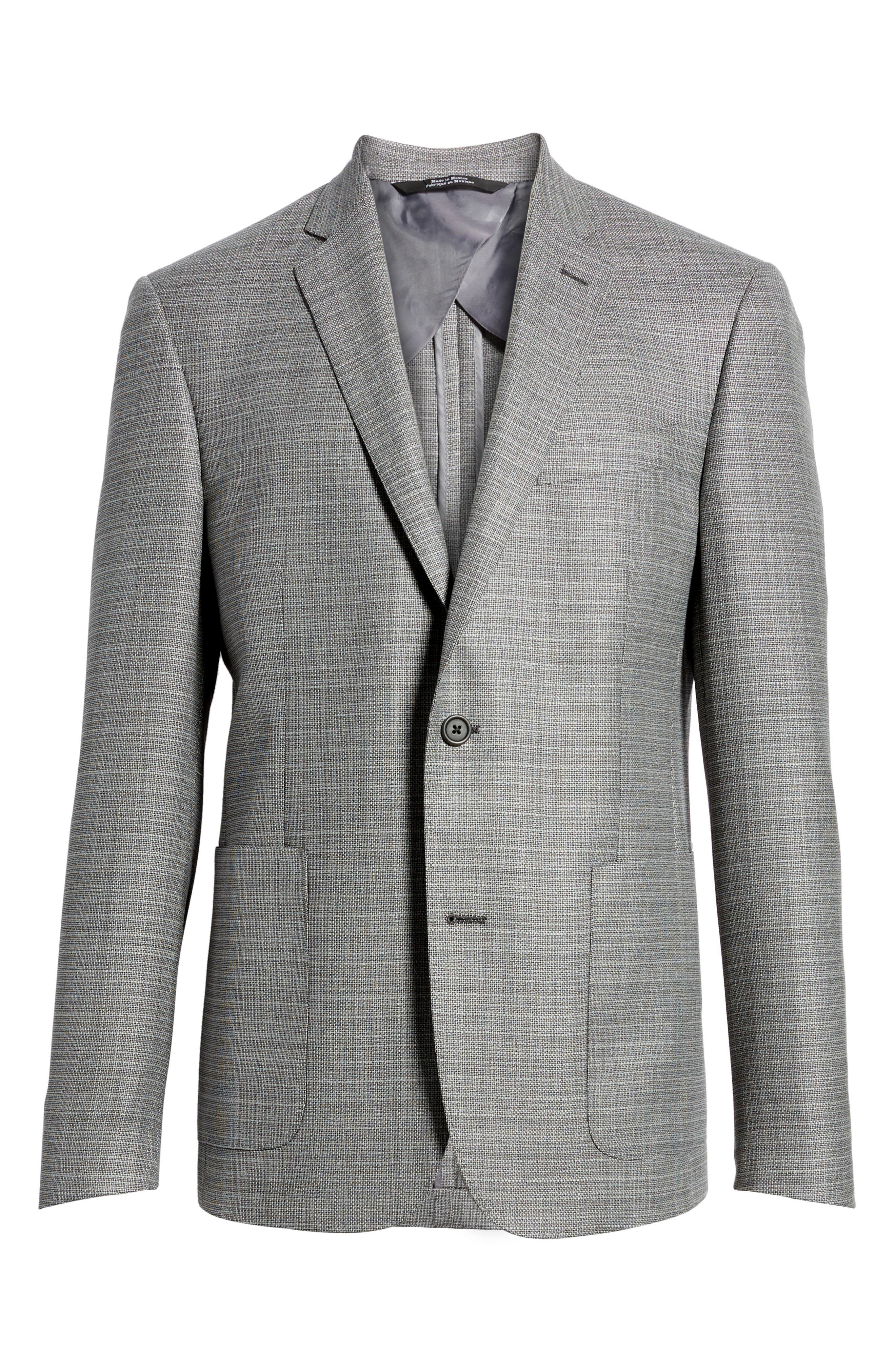 Trim Fit Wool Blazer,                             Alternate thumbnail 6, color,                             Silver