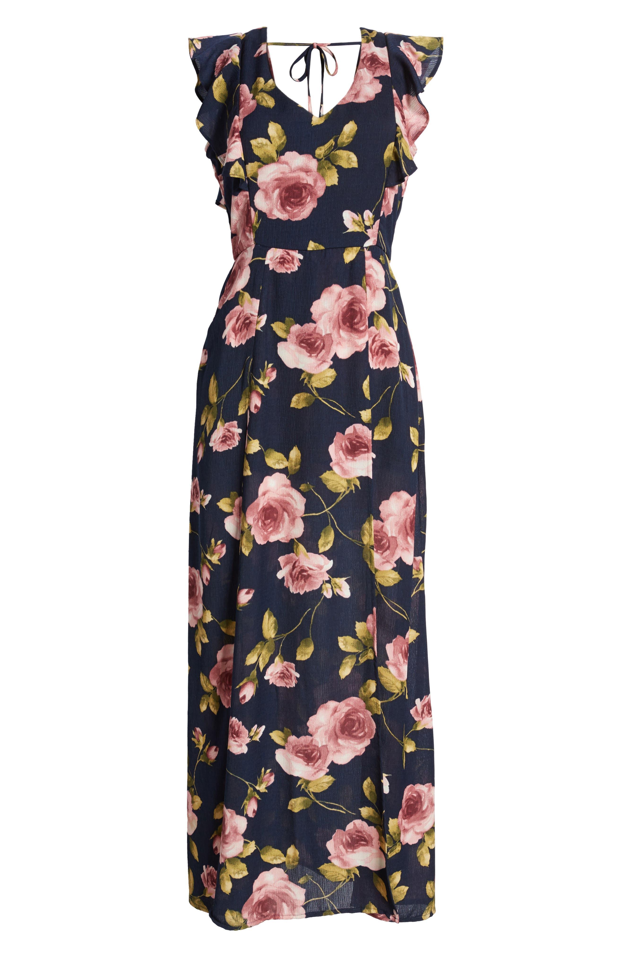 Flutter Sleeve Maxi Dress,                             Alternate thumbnail 7, color,                             Navy Blush
