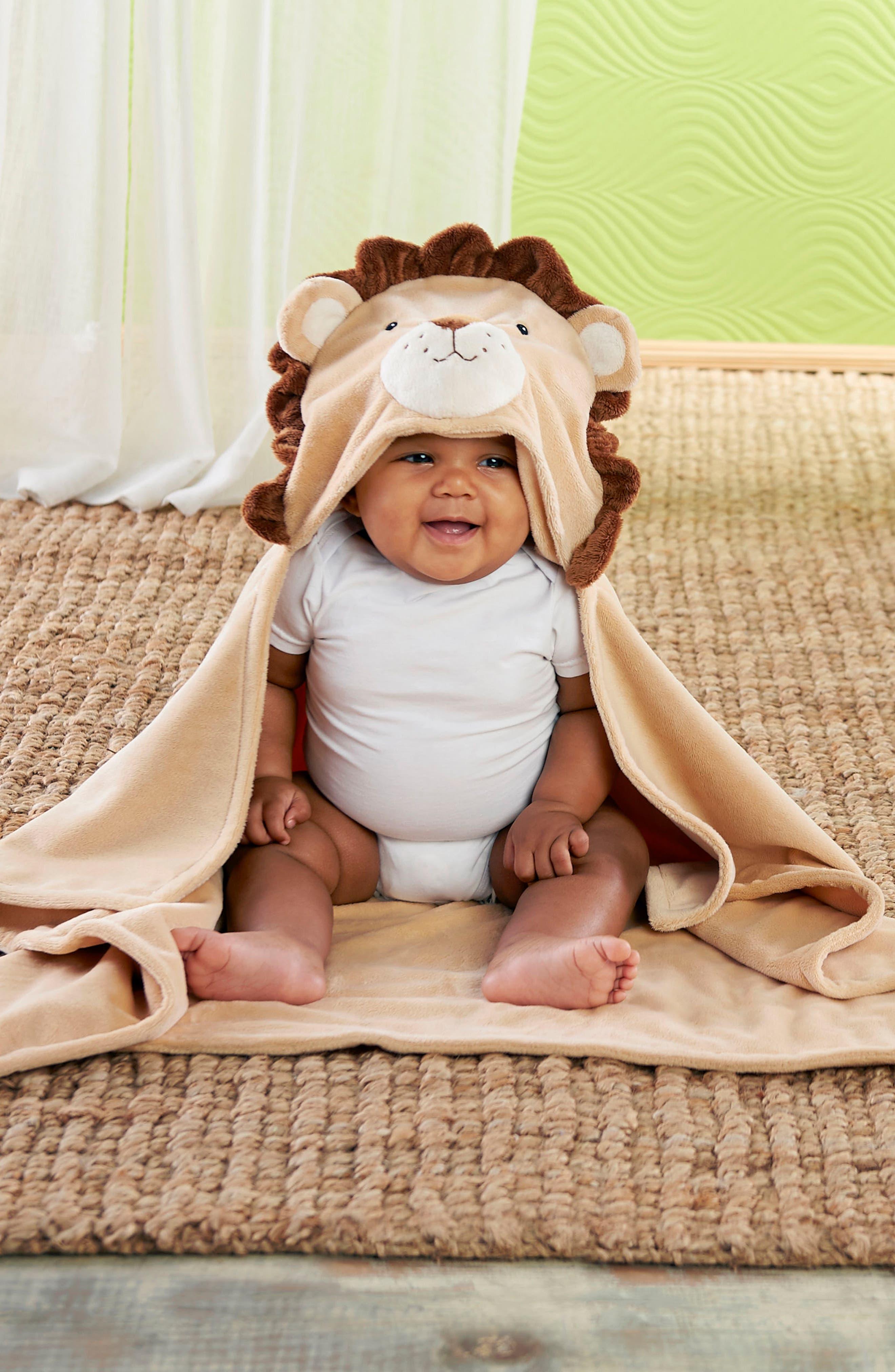 Lion Safari Hooded Blanket, 3-Pack Socks & Stuffed Animal Set,                             Alternate thumbnail 3, color,
