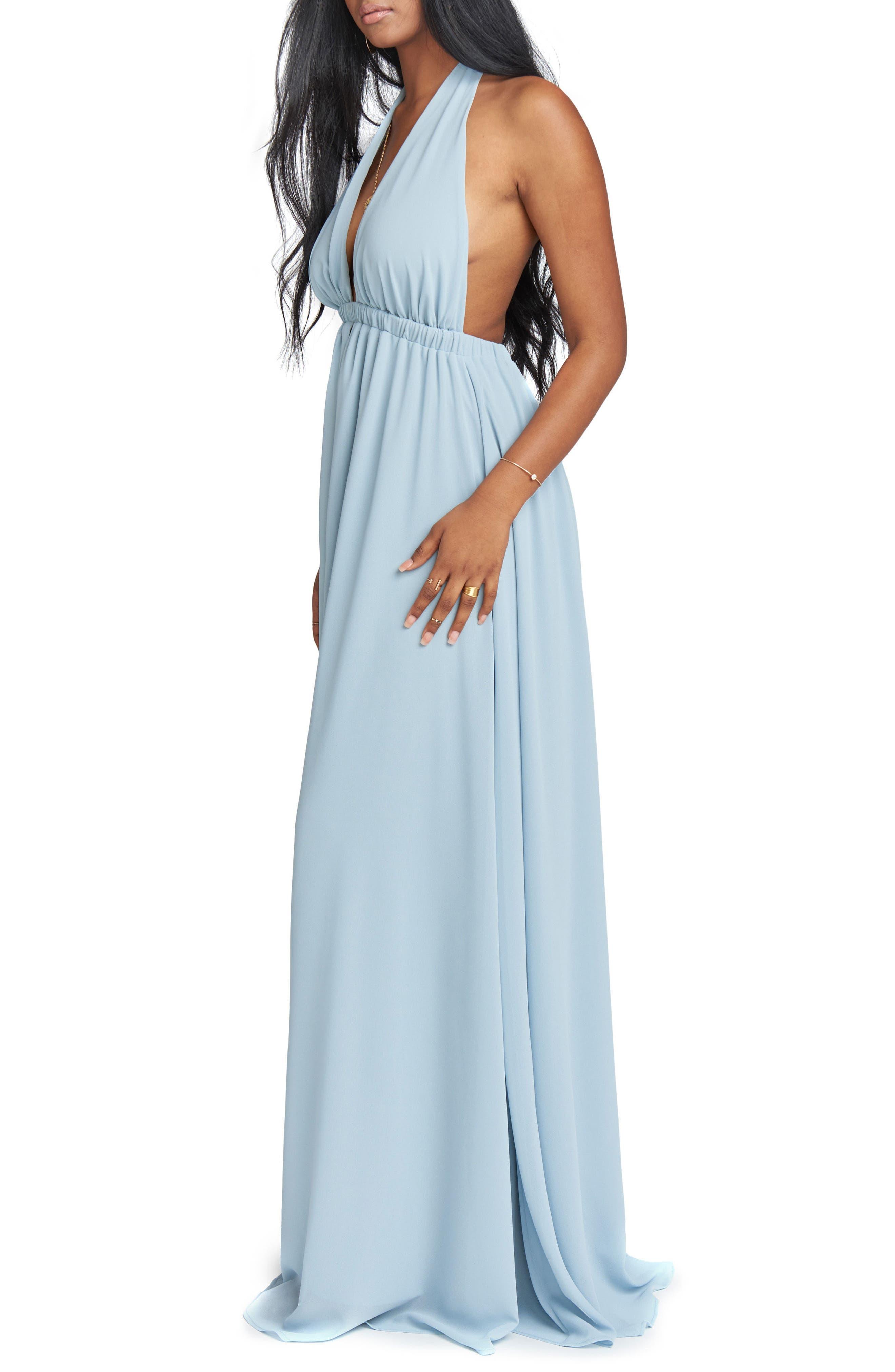 Luna Halter Gown,                             Alternate thumbnail 3, color,                             Steel Blue