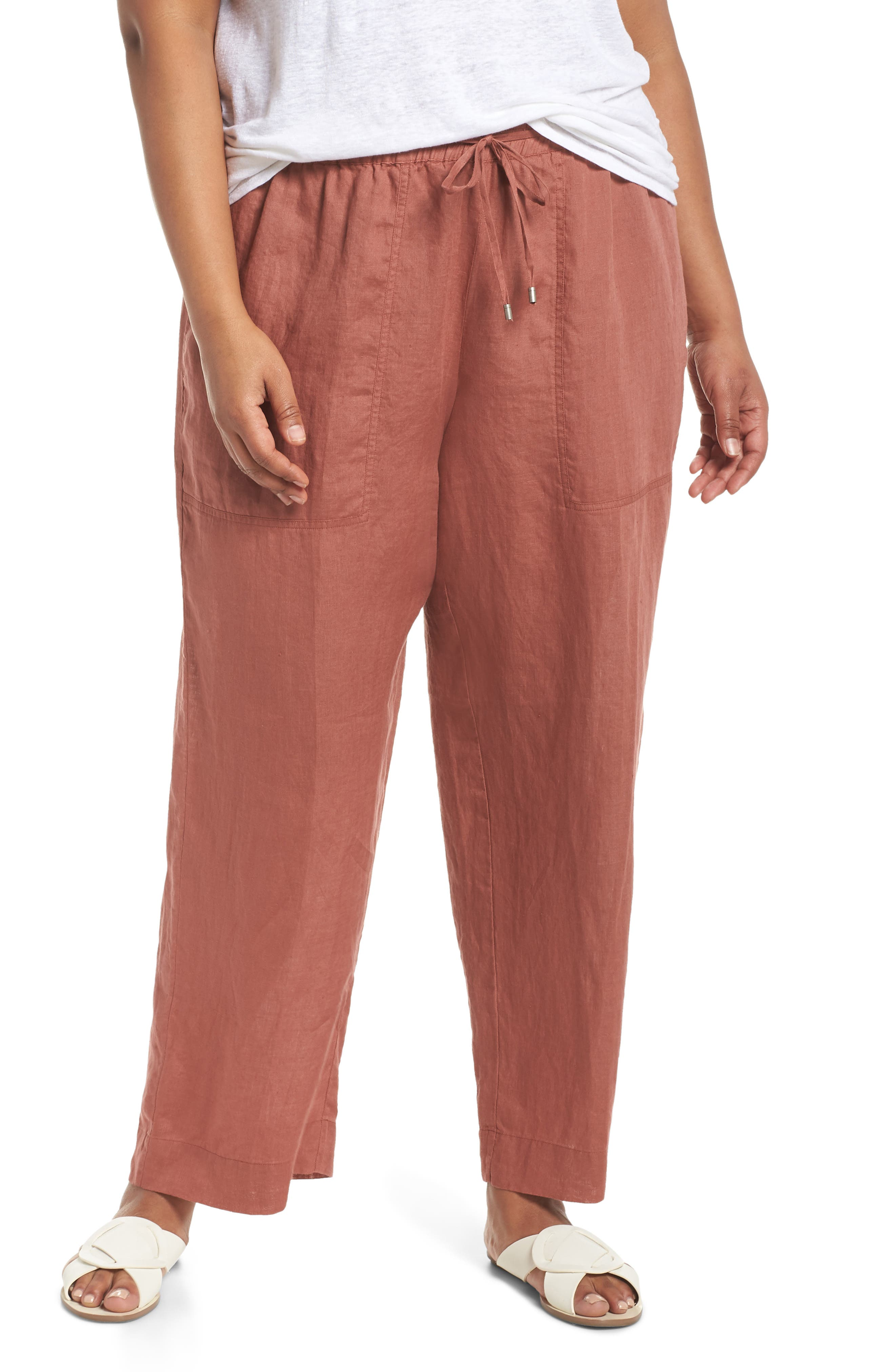 Organic Linen Ankle Pants,                         Main,                         color, Russet