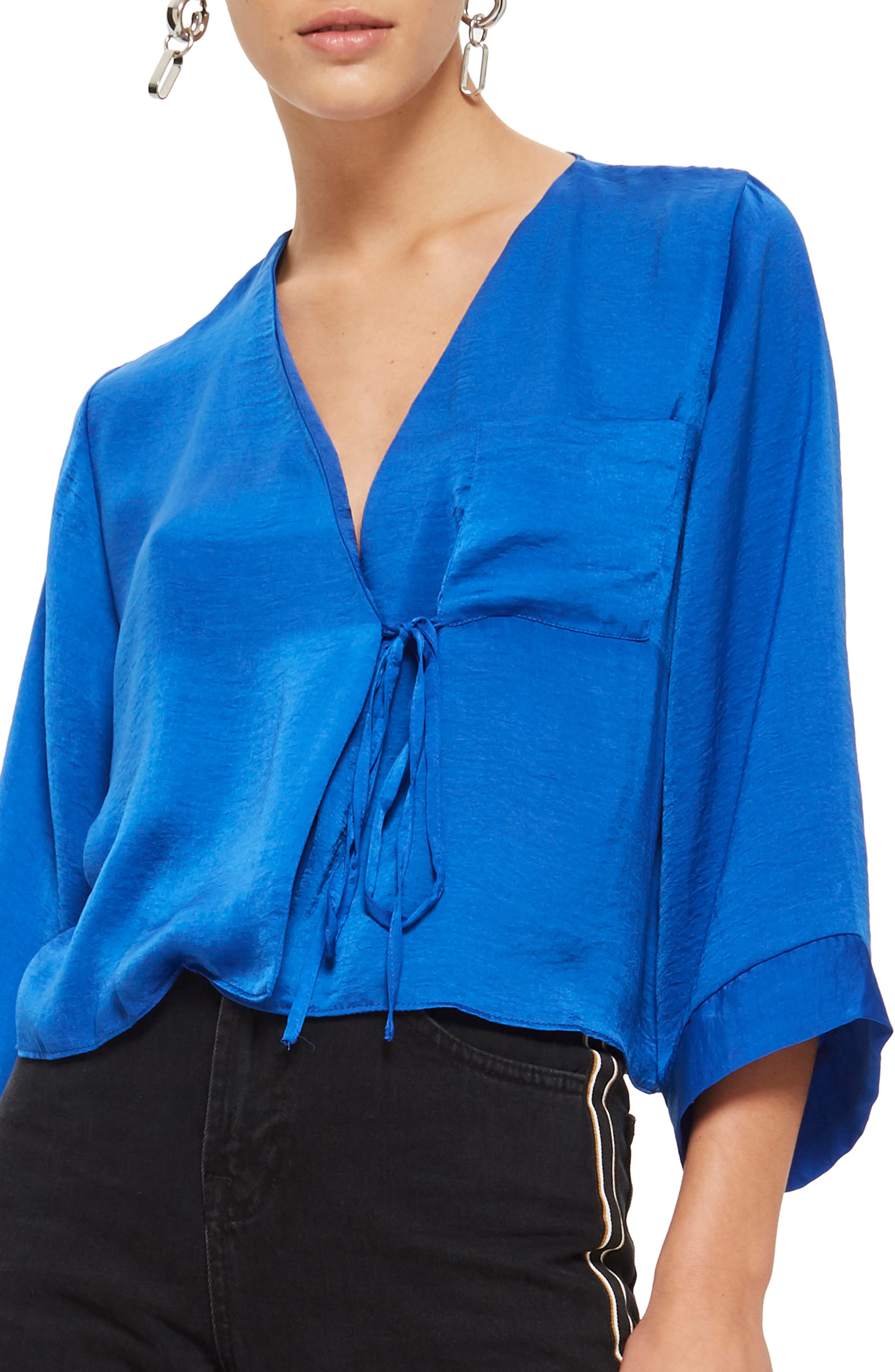 Tara Wrap Blouse,                         Main,                         color, Cobalt