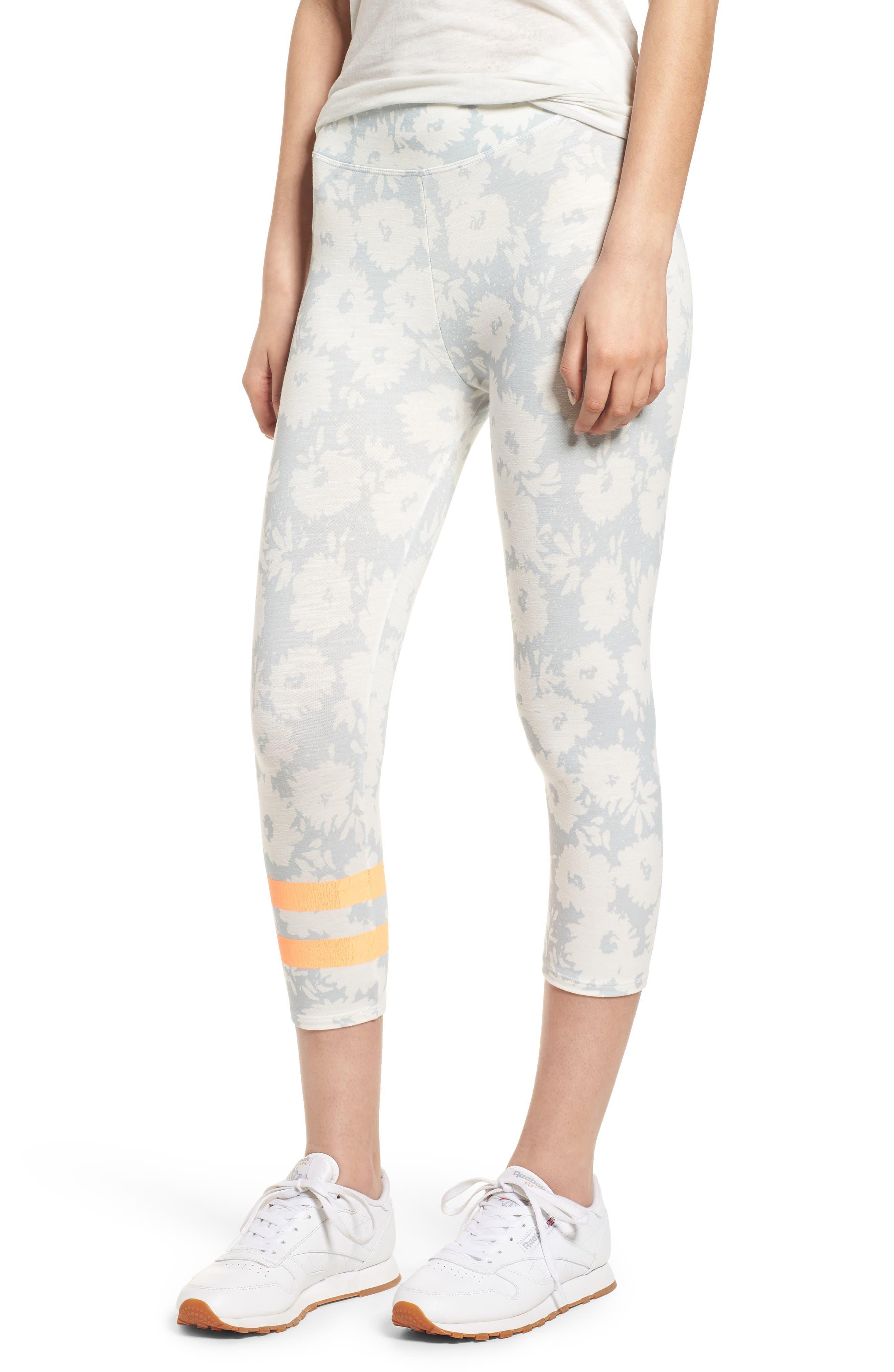 Stripe Print Capri Yoga Pants,                         Main,                         color, Sky/ White