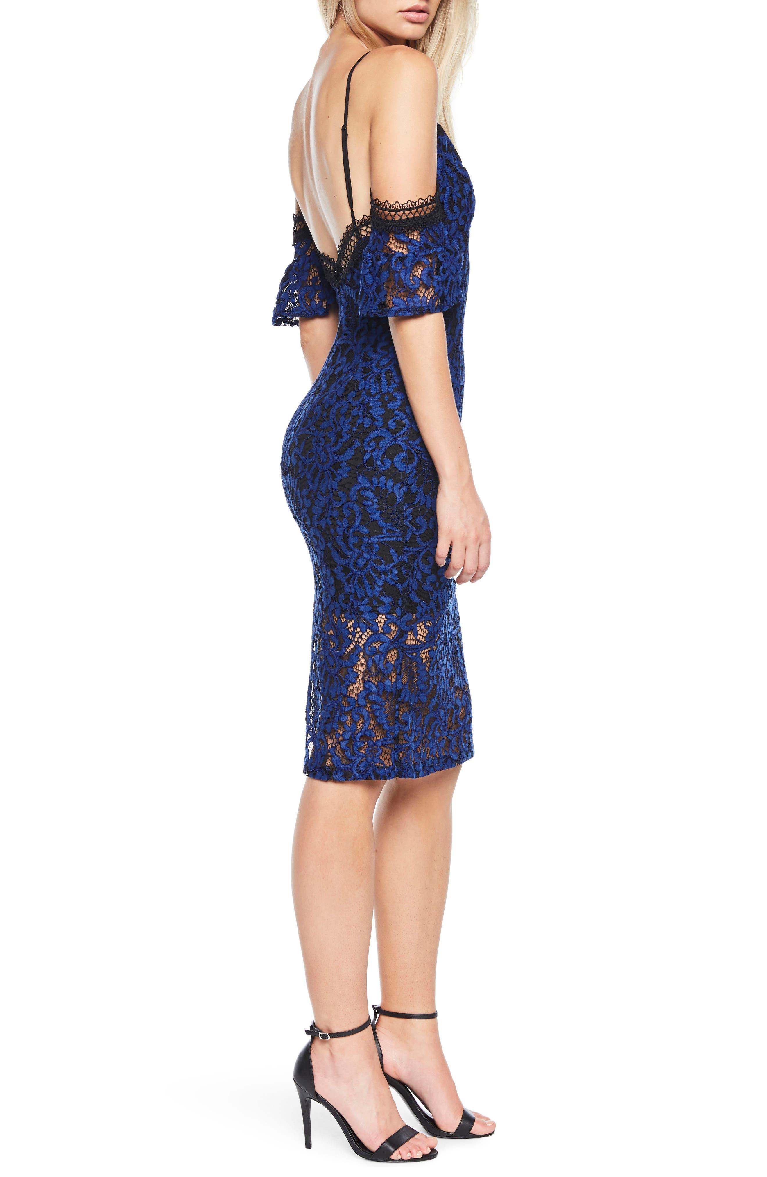 Taegen Cold Shoulder Lace Dress,                             Alternate thumbnail 4, color,                             Navy