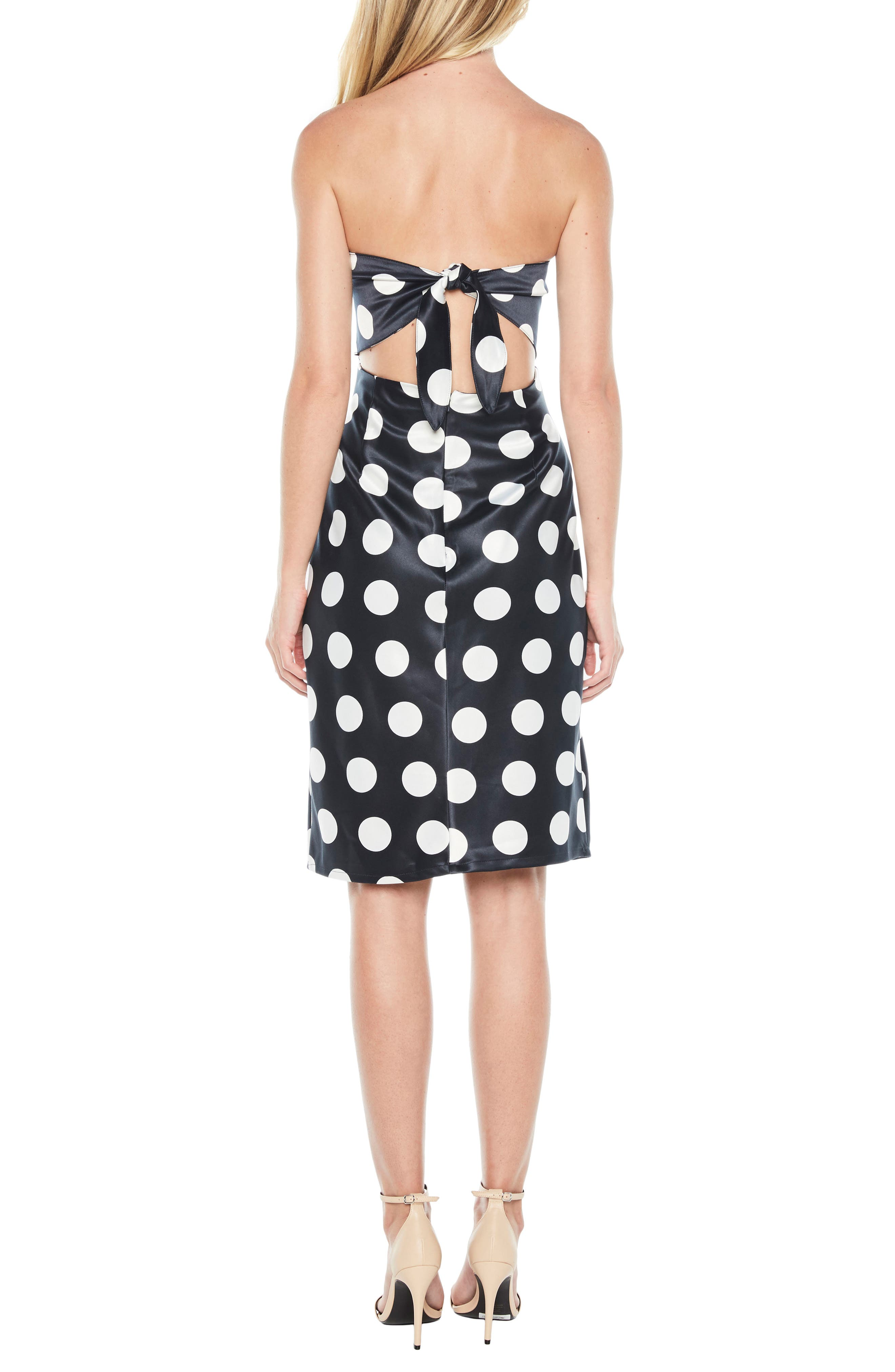 Sayer Dotted Tie Back Strapless Dress,                             Alternate thumbnail 2, color,                             Navy Spot