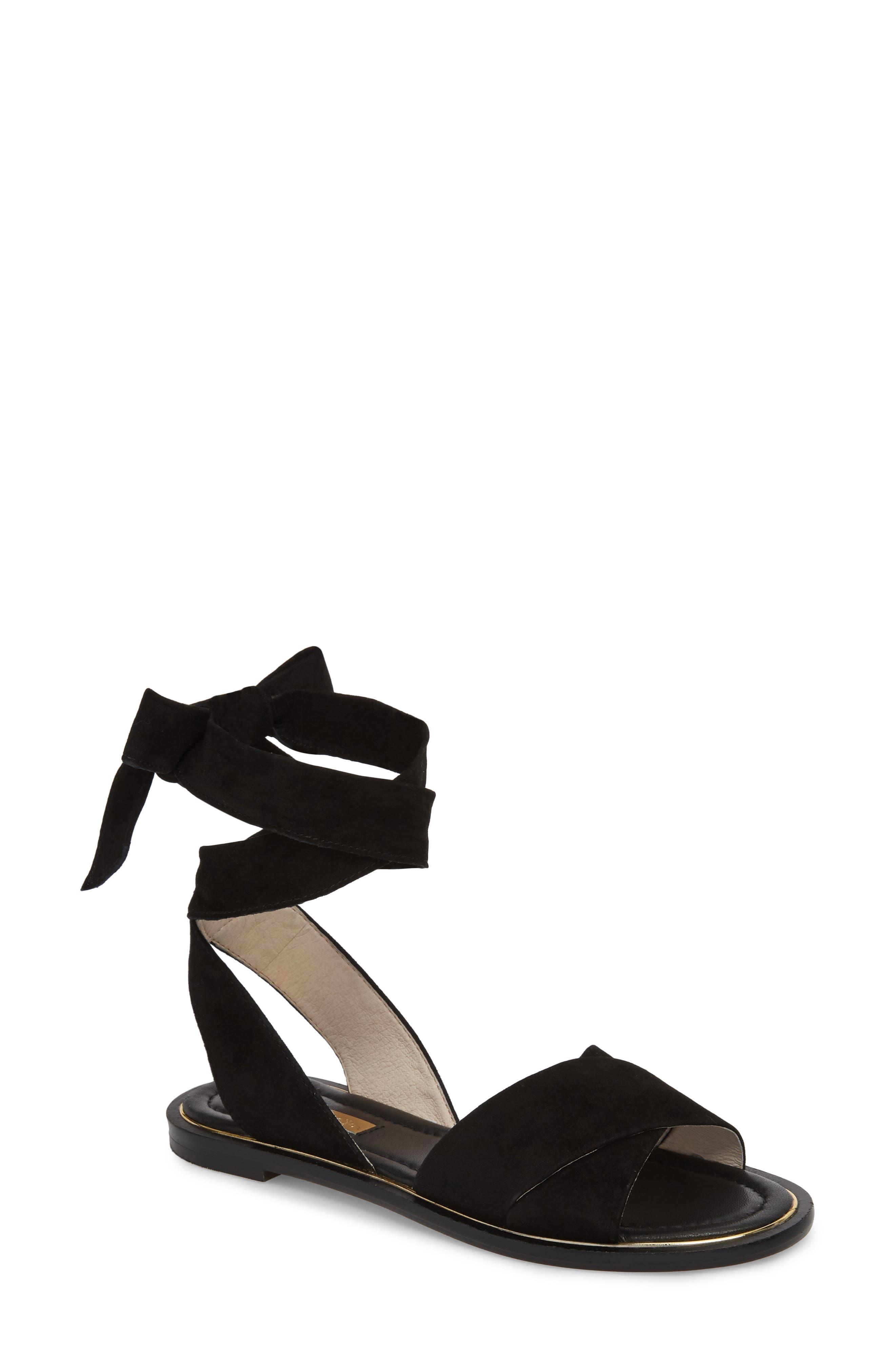 Biglia Ankle Wrap Sandal,                             Main thumbnail 1, color,                             Black Leather