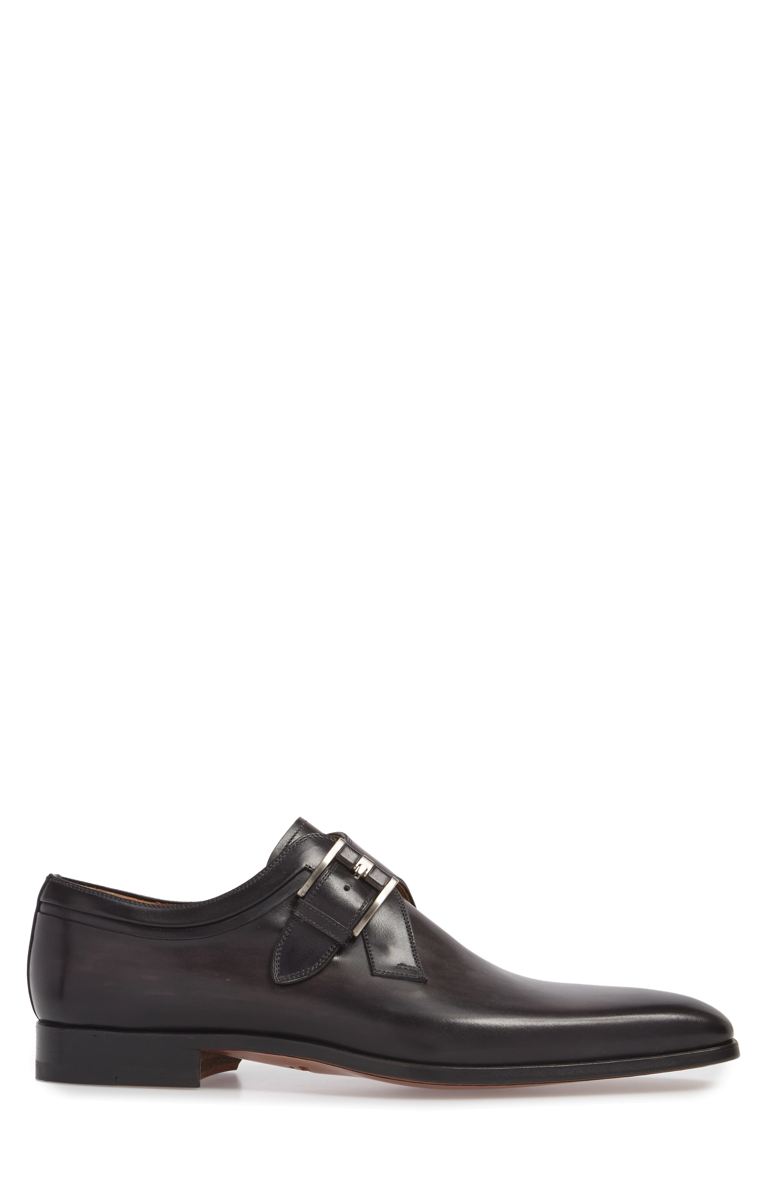 Toma Single Buckle Monk Shoe,                             Alternate thumbnail 3, color,                             Grey Leather