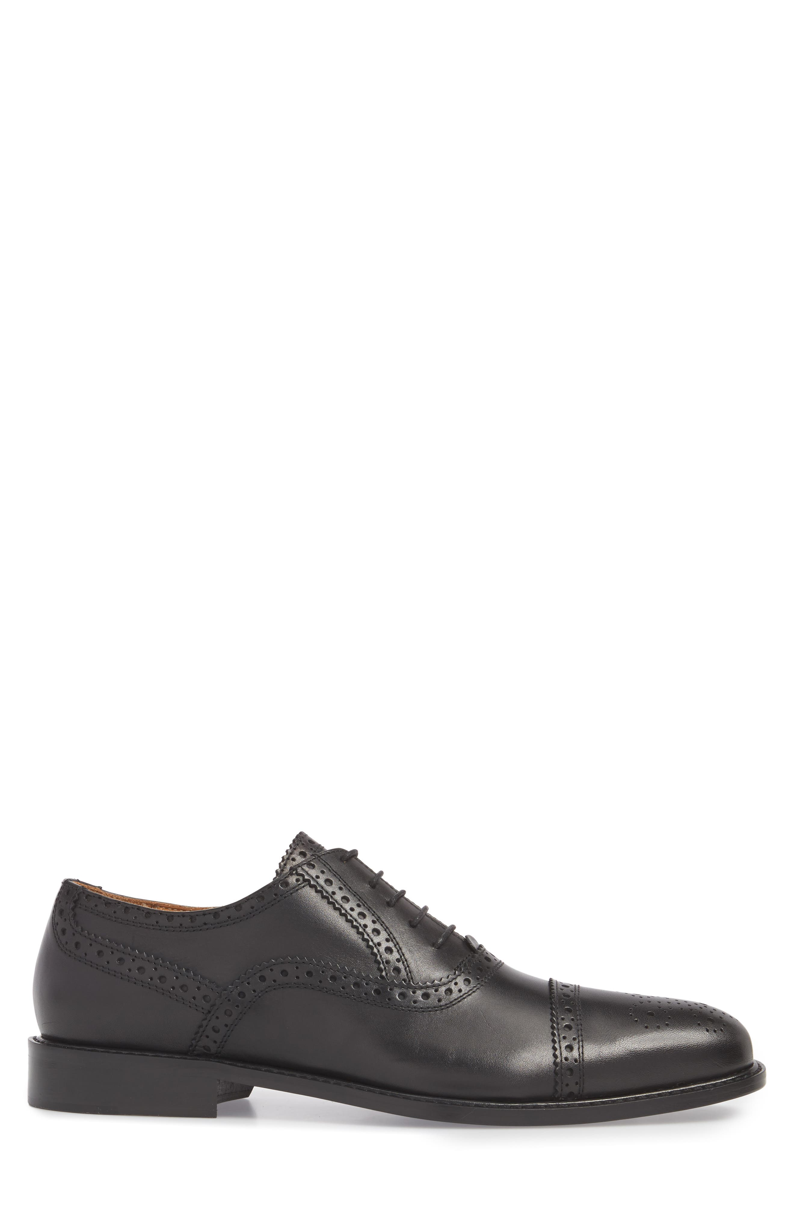 Index Cap Toe Oxford,                             Alternate thumbnail 3, color,                             Black Leather
