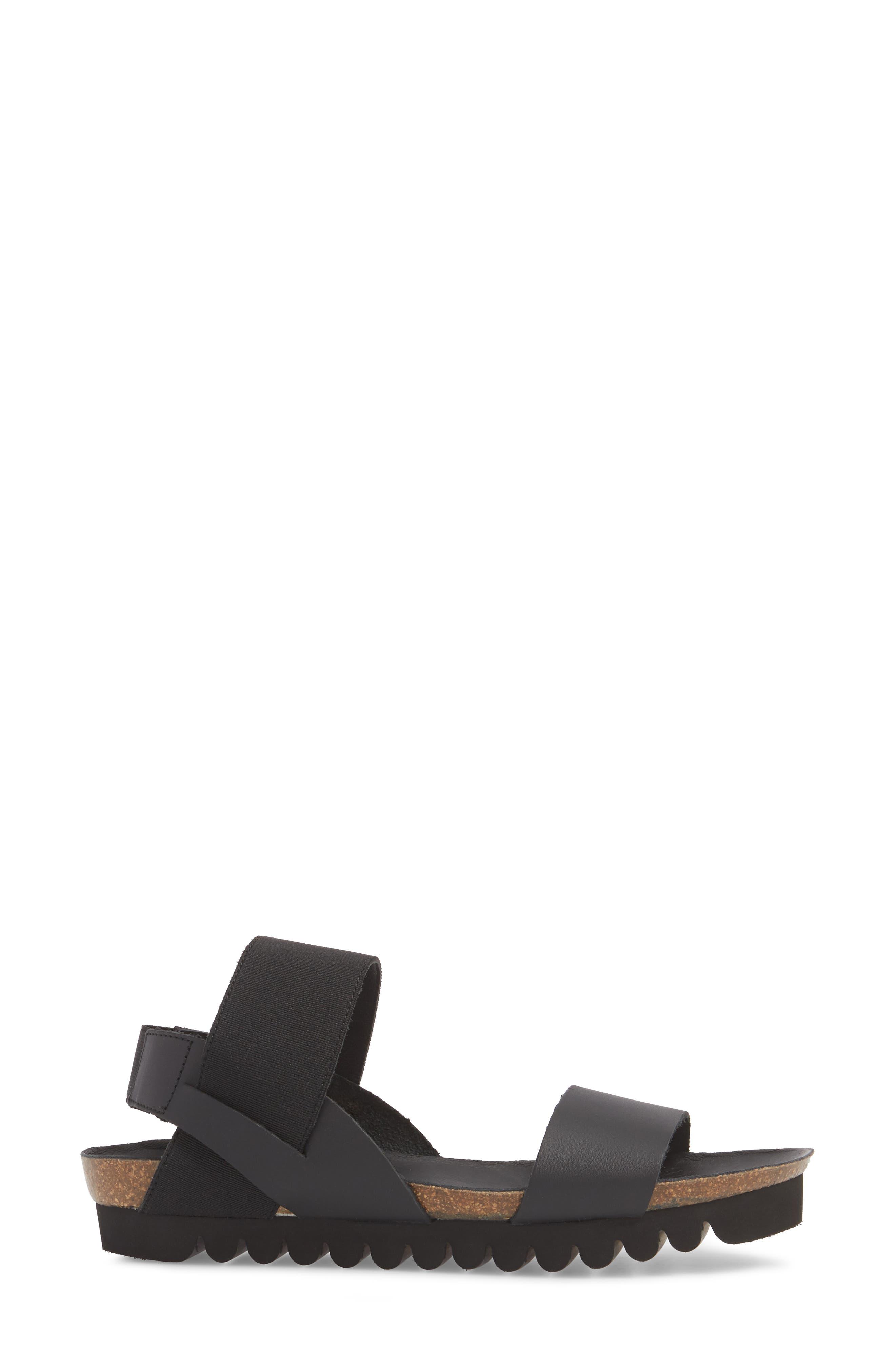 Luna Sandal,                             Alternate thumbnail 3, color,                             Black Leather