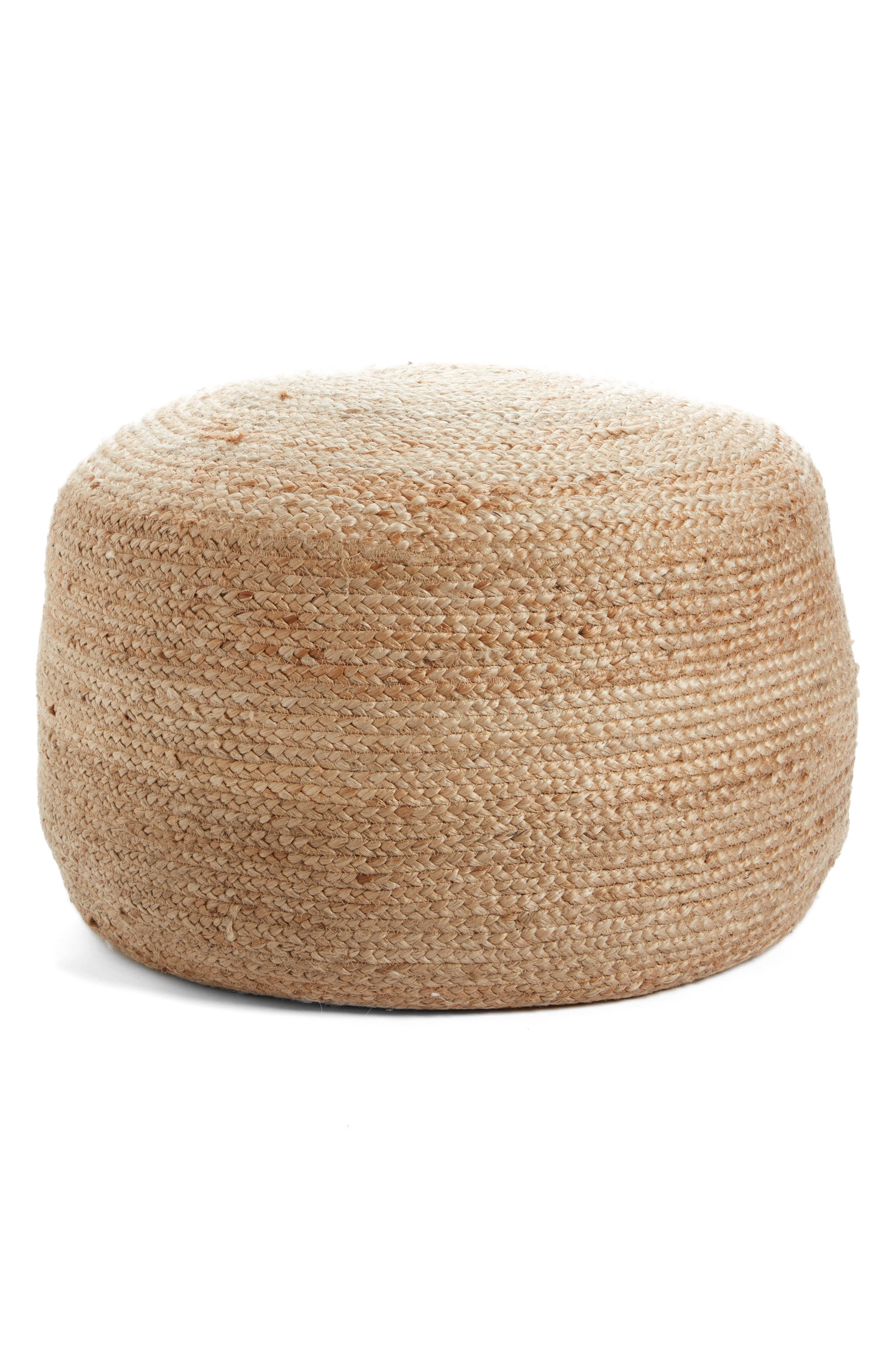 Indoor/Outdoor Jute Pouf,                         Main,                         color, Natural