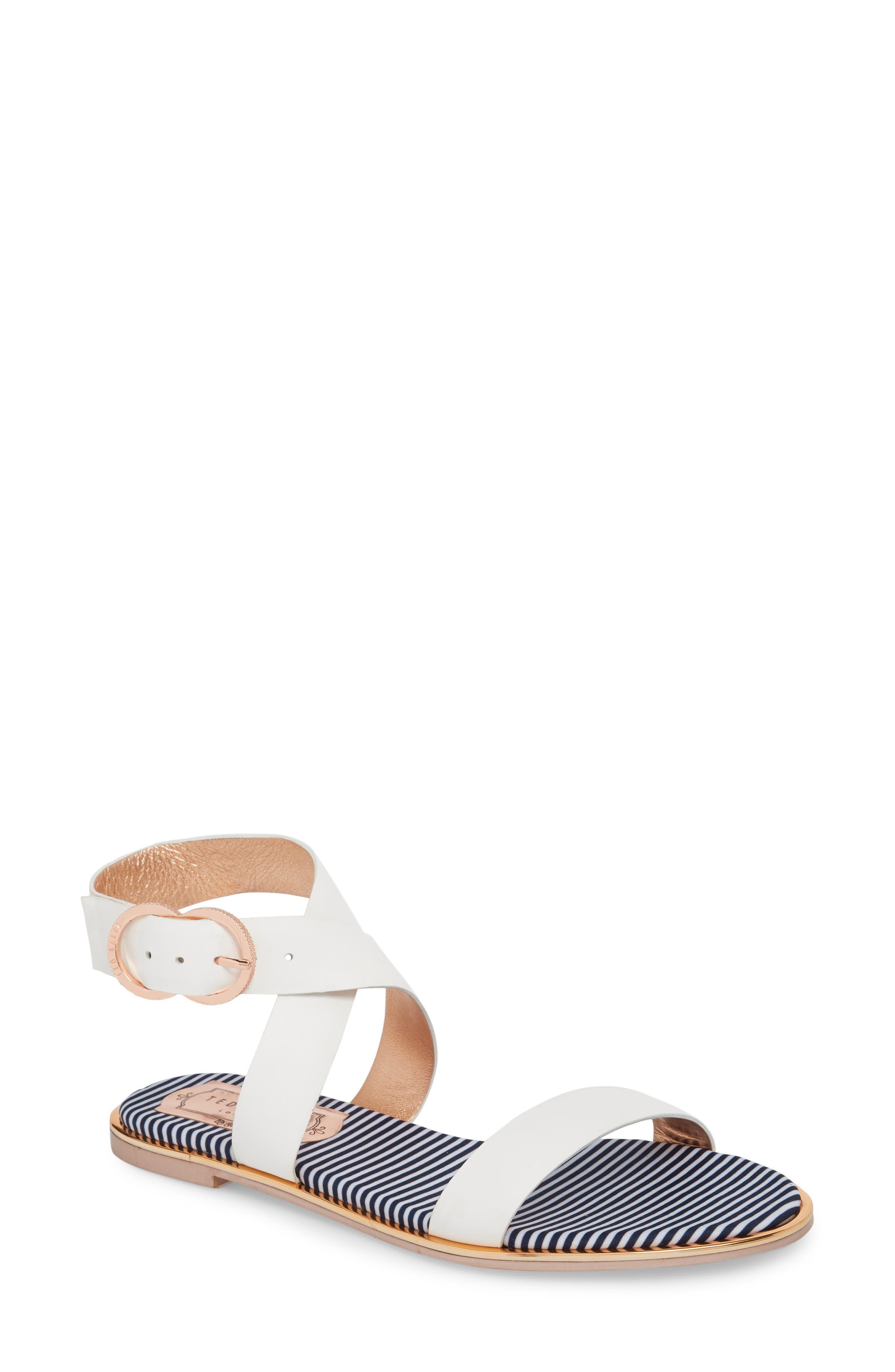 Qereda Sandal,                         Main,                         color, White Leather