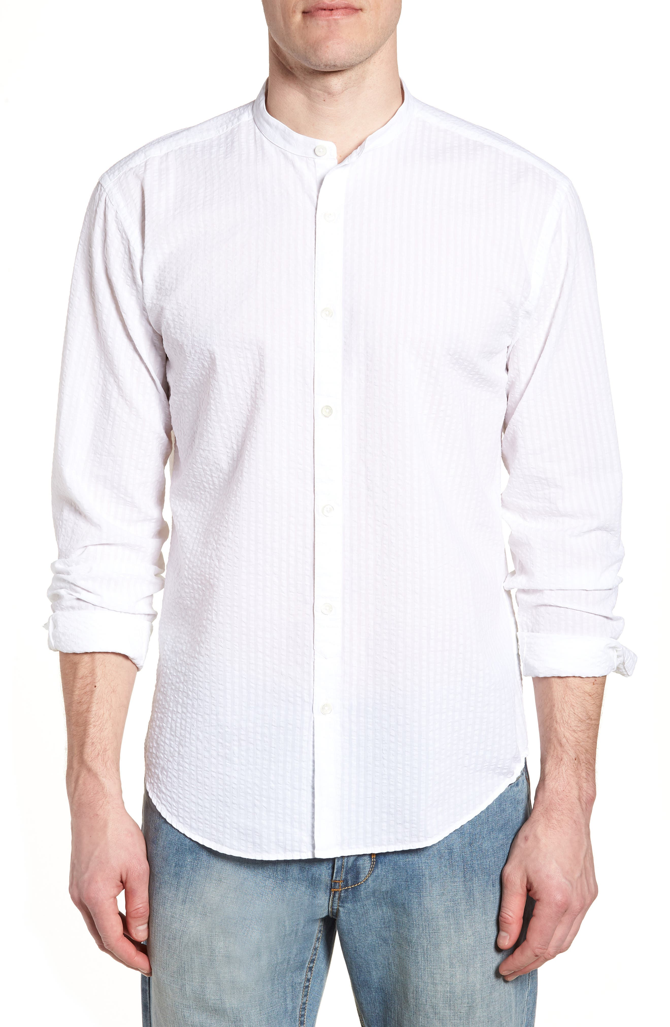Shaped Fit Band Collar Seersucker Sport Shirt,                             Main thumbnail 1, color,                             White
